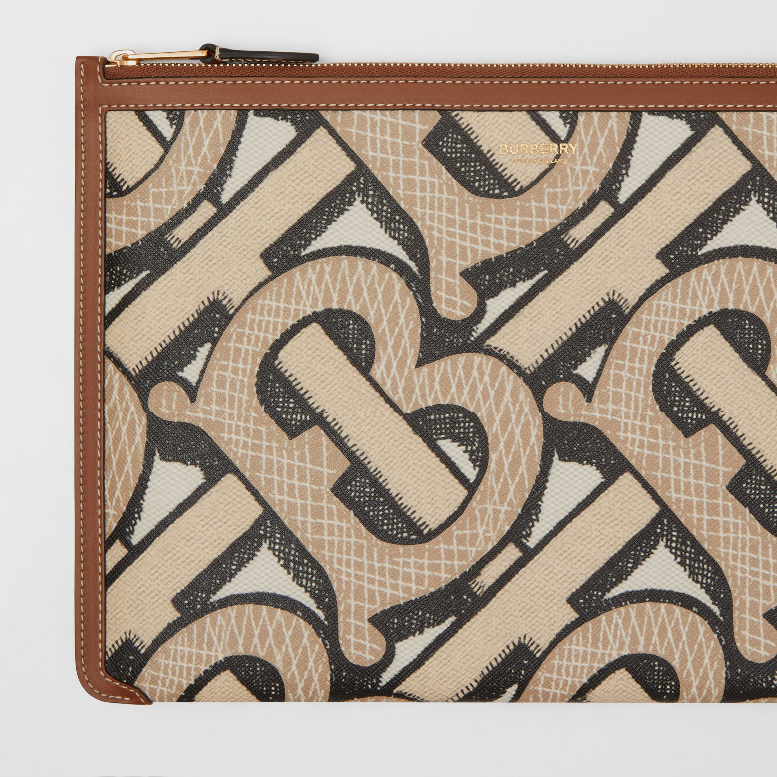 Monogram Print E-canvas and Leather Pouch in Dark Beige - Women | Burberry - 2