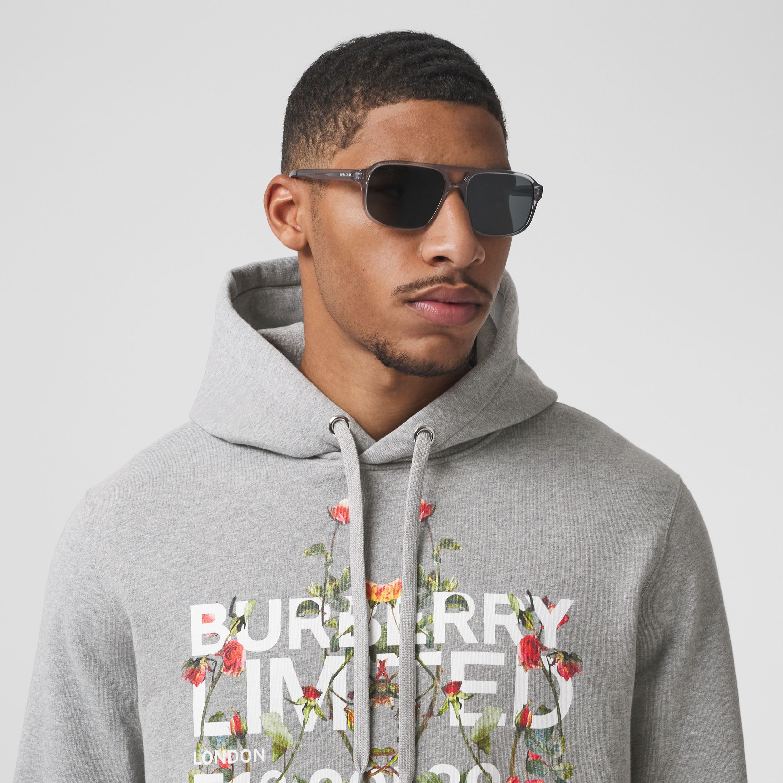Montage Print Cotton Hoodie in Pale Grey Melange - Men | Burberry - 2