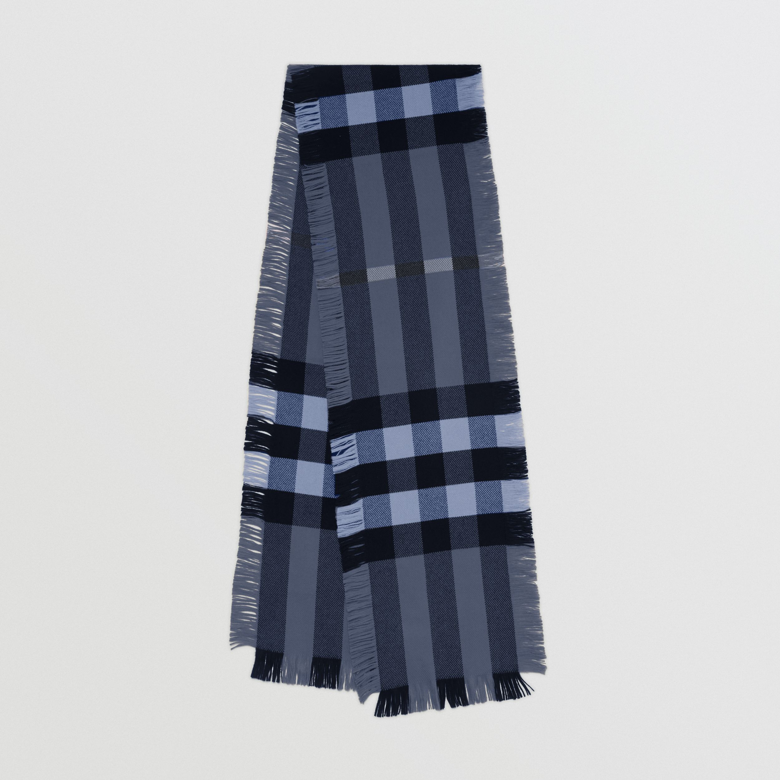 Fringed Check Wool Scarf in Bright Navy | Burberry - 1