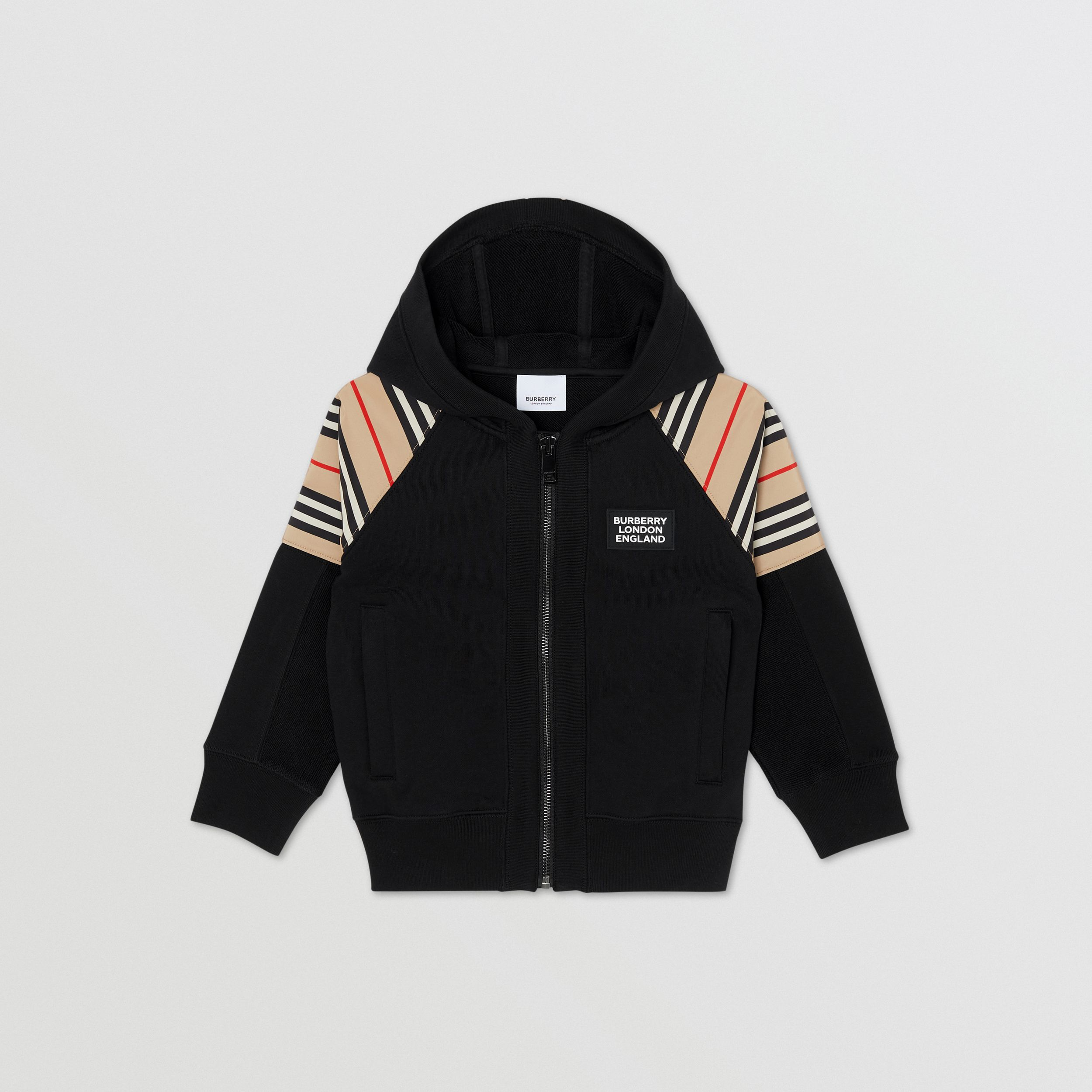Icon Stripe Panel Cotton Hooded Top in Black | Burberry - 1