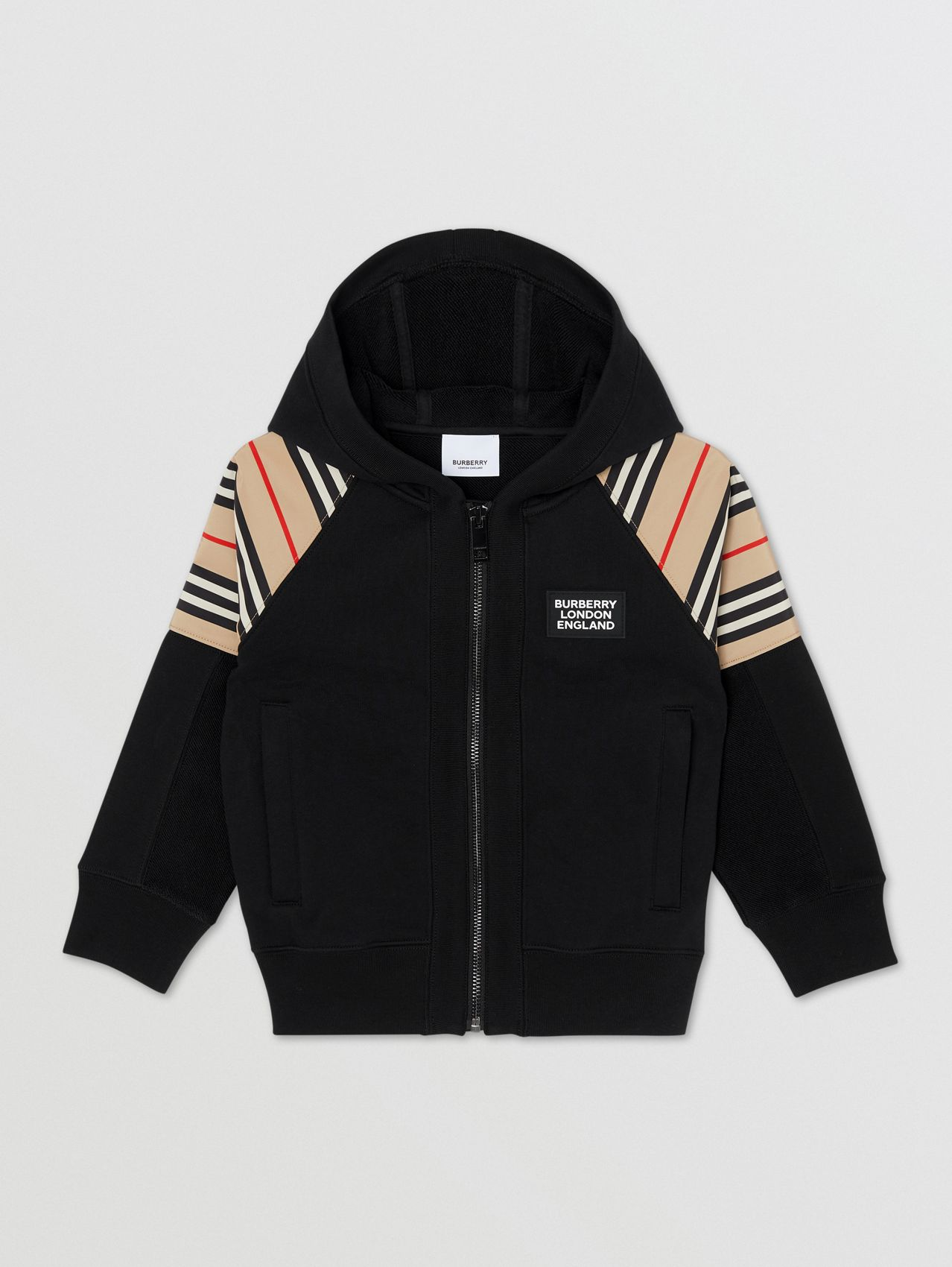 Icon Stripe Panel Cotton Hooded Top in Black