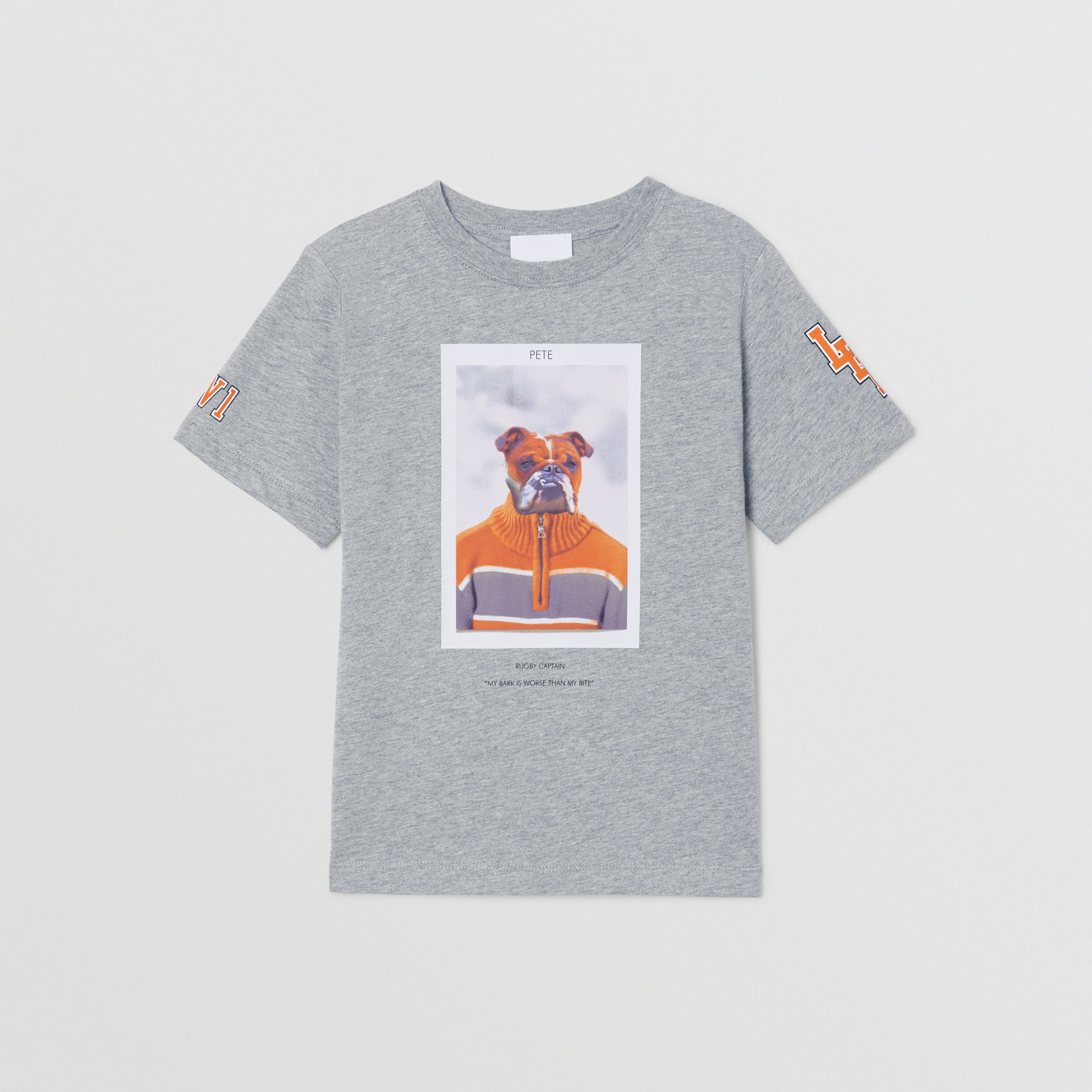 Character Print Cotton T-shirt in Grey Melange | Burberry - 1