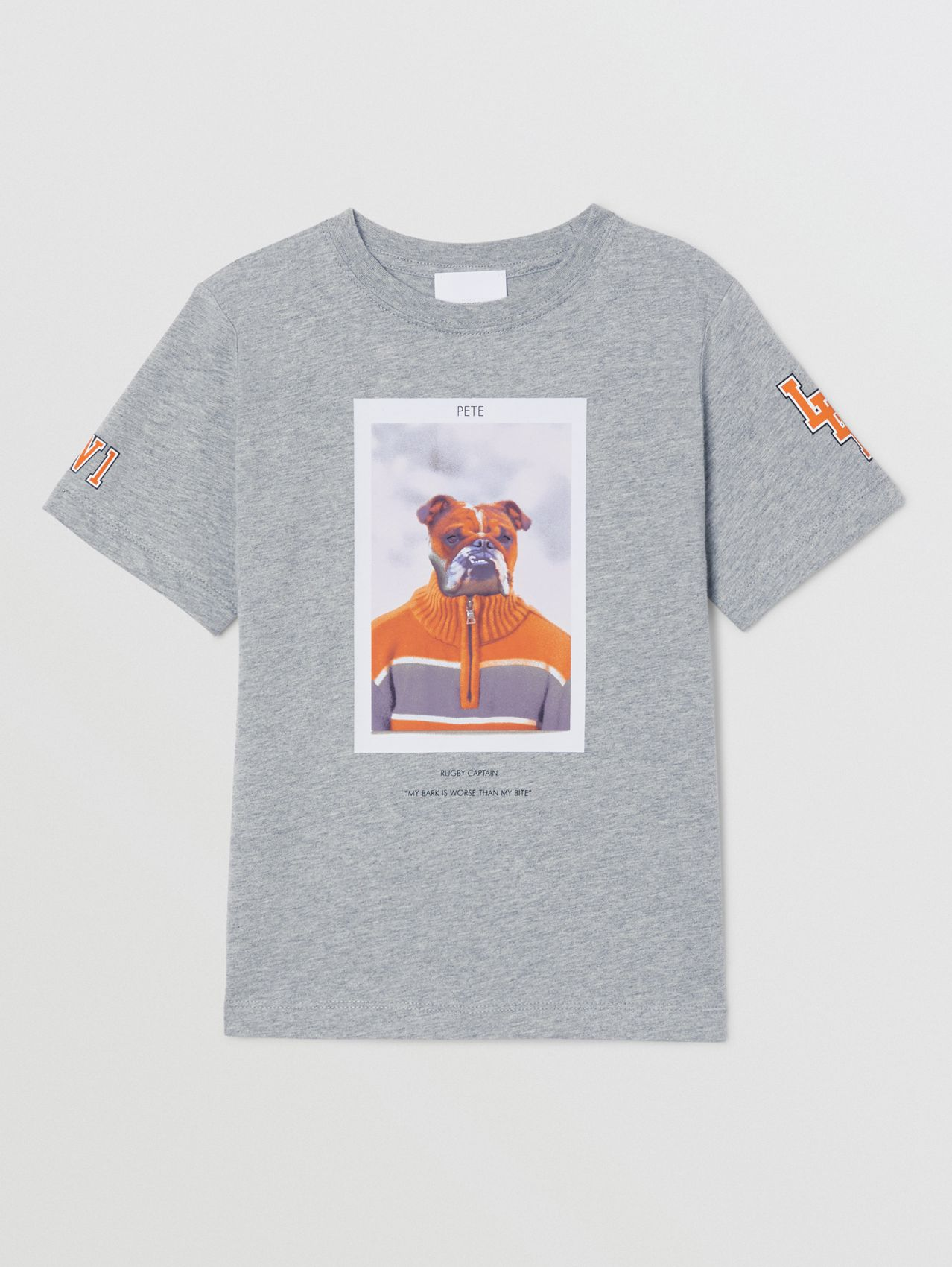 Character Print Cotton T-shirt in Grey Melange