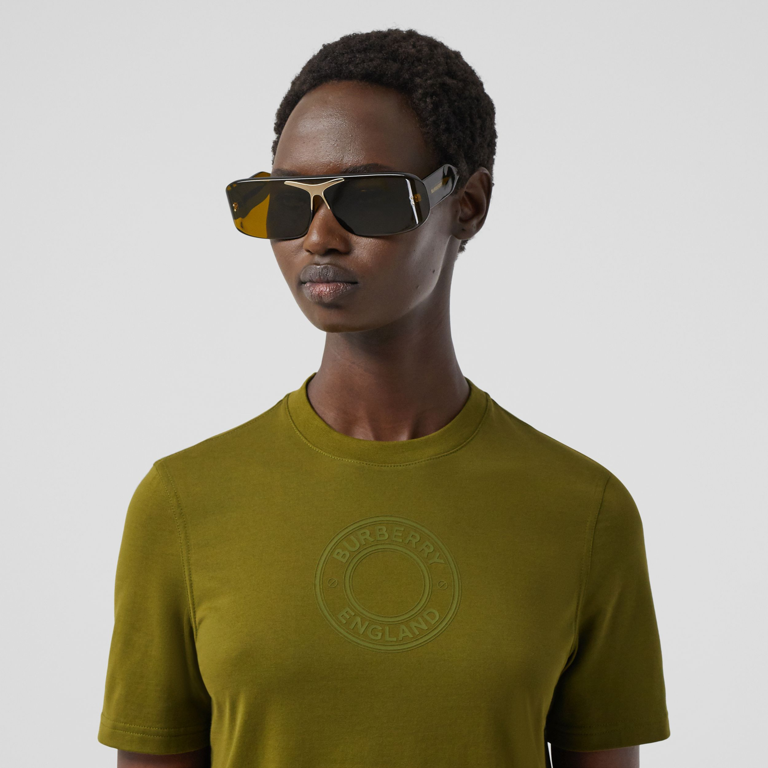 Logo Graphic Cotton T-shirt in Juniper Green - Women | Burberry - 2
