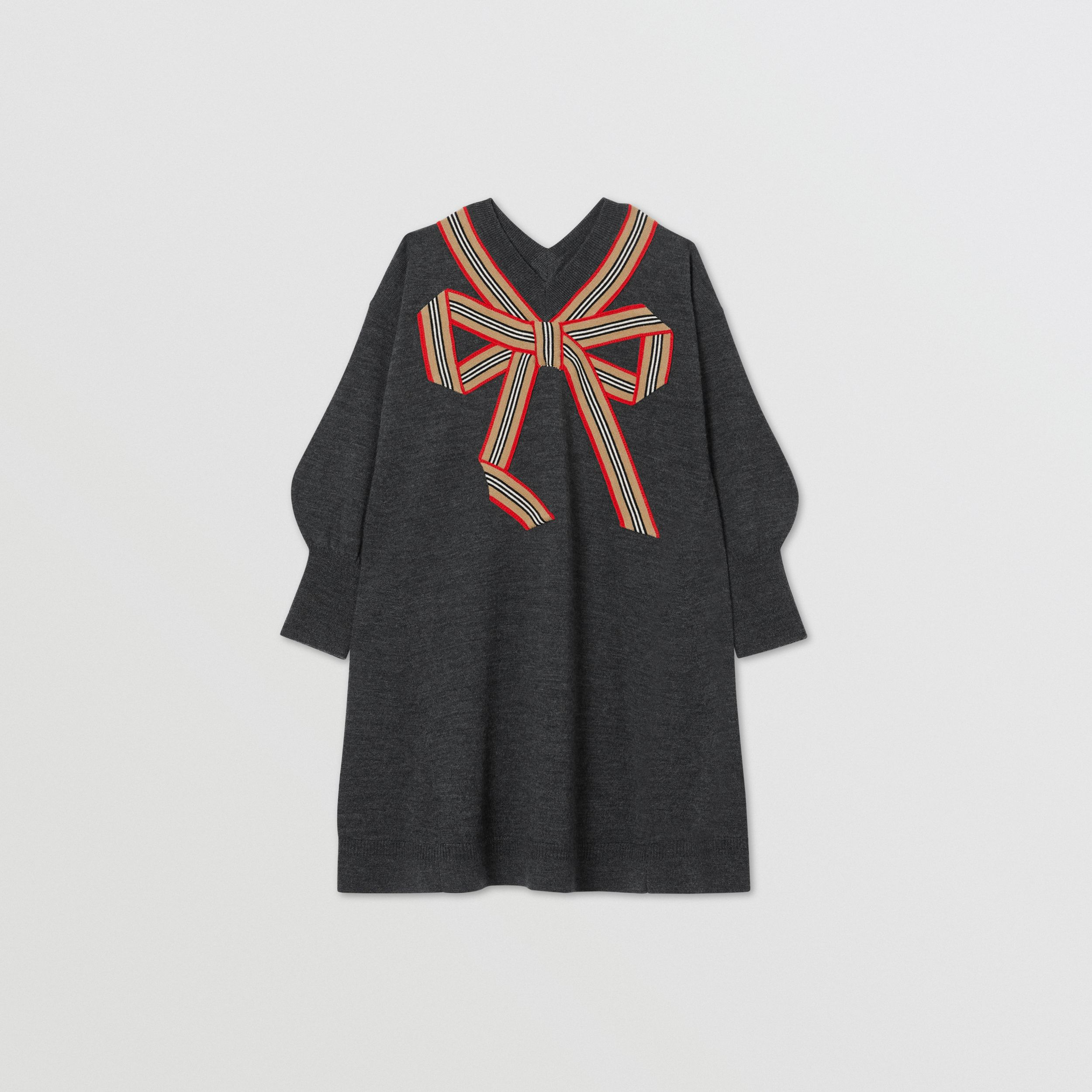 Icon Stripe Bow Merino Wool Silk Sweater Dress in Charcoal | Burberry - 1