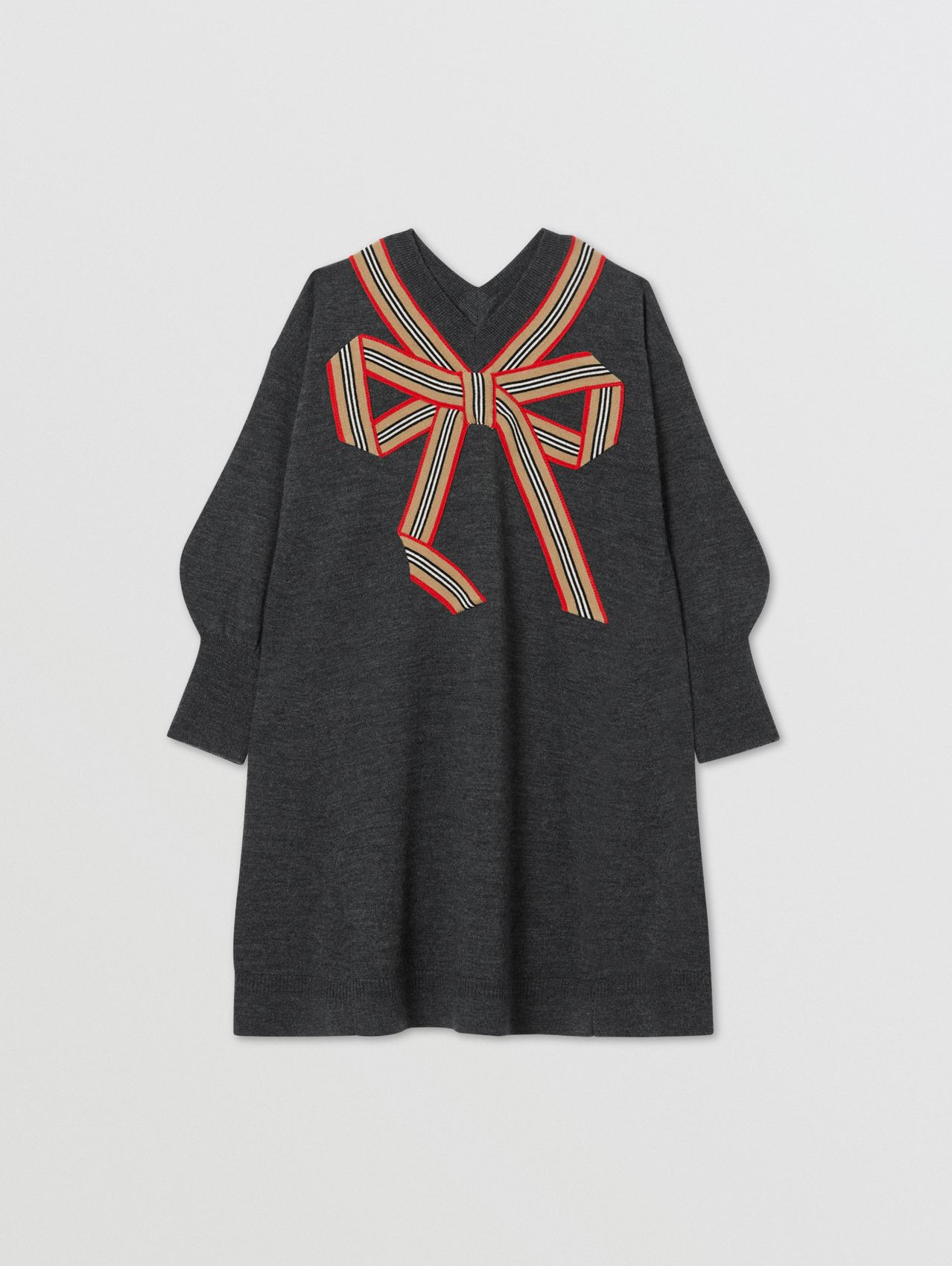 Icon Stripe Bow Merino Wool Silk Sweater Dress in Charcoal