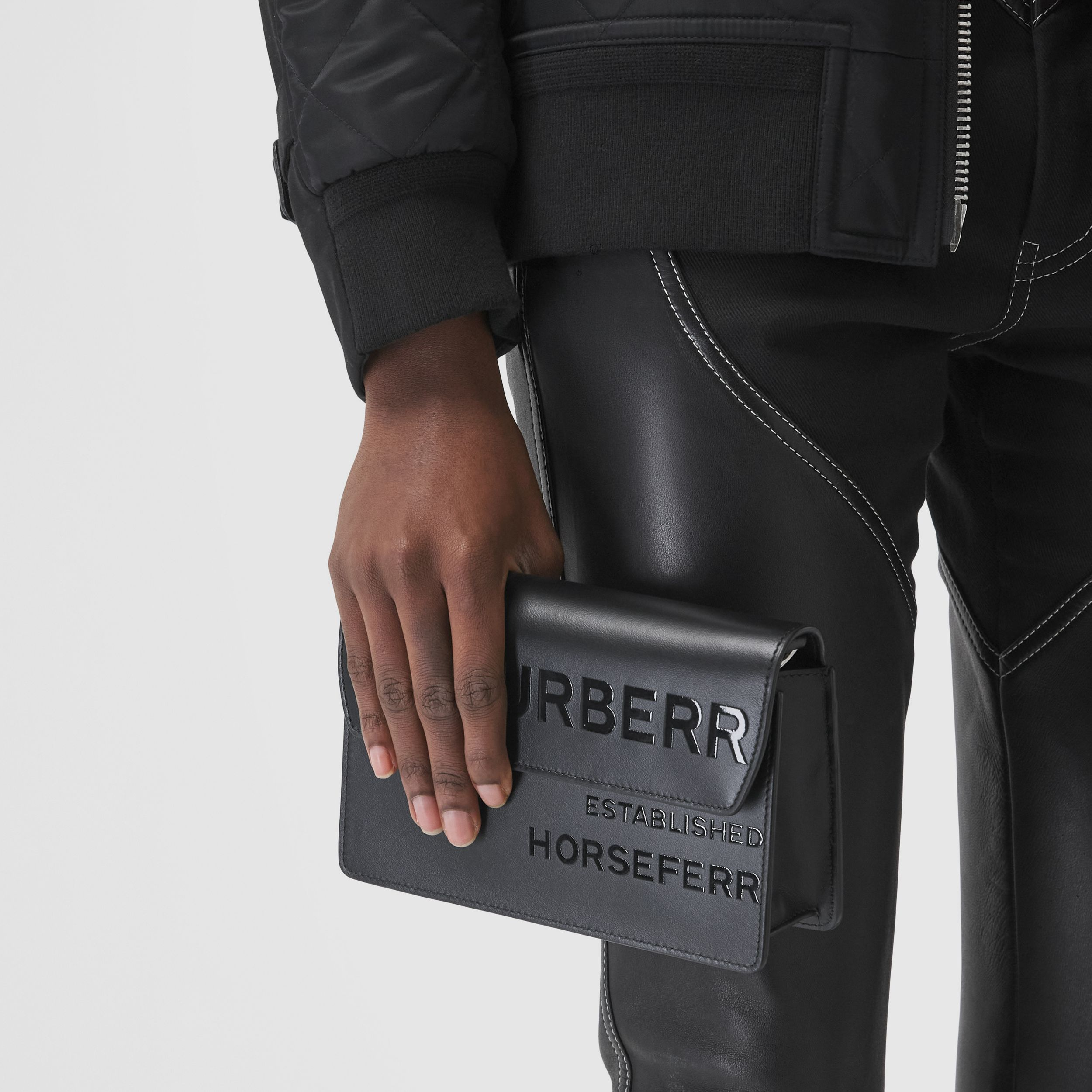 Horseferry Print Leather Crossbody Bag in Black - Men | Burberry - 4