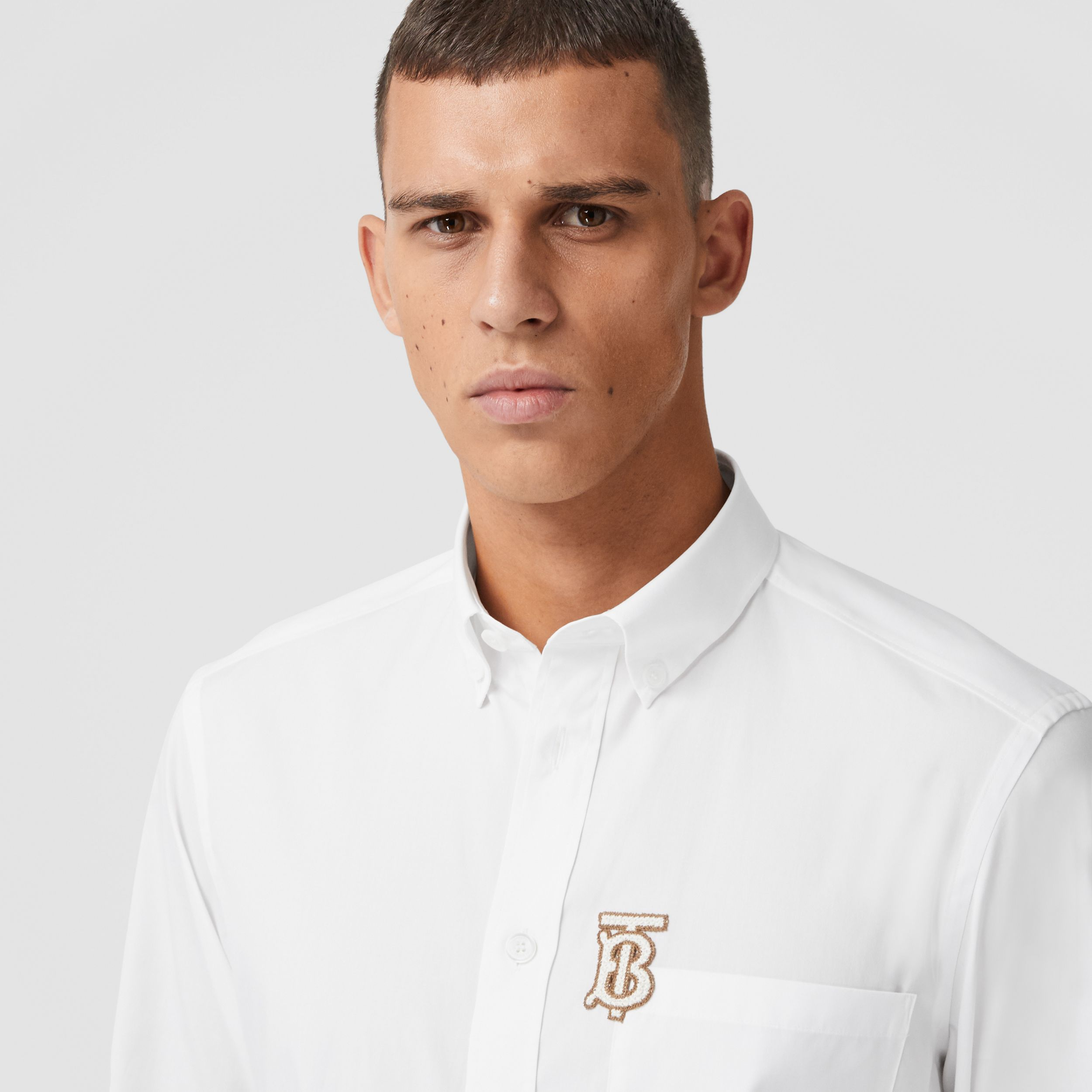 Monogrom Motif Stretch Cotton Poplin Shirt in White - Men | Burberry - 2