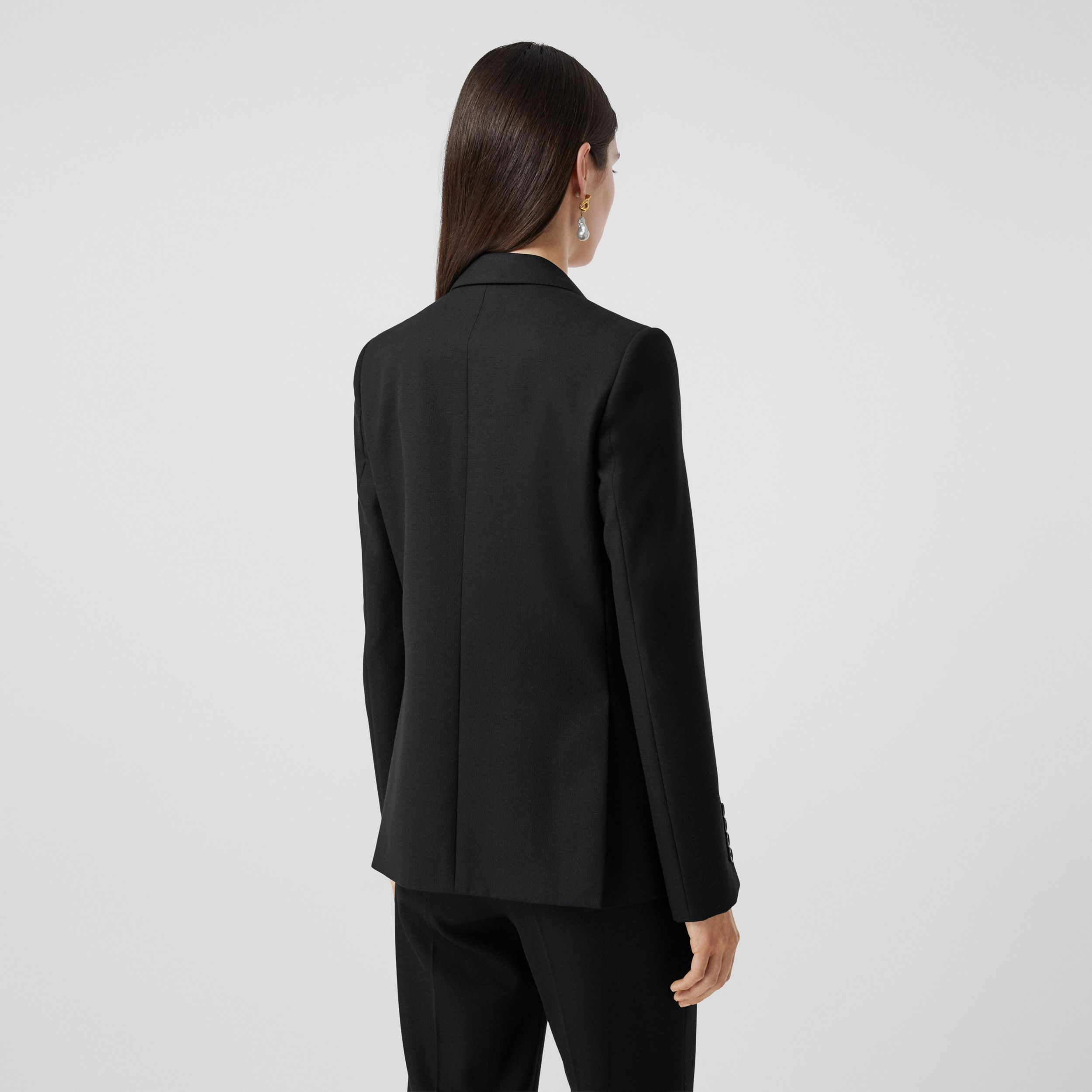 Jersey Sash Detail Wool Tailored Jacket in Black - Women | Burberry Canada - 3