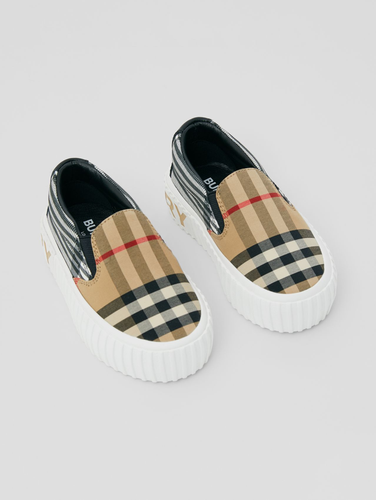 Contrast Check Cotton Slip-on Sneakers in Archive Beige