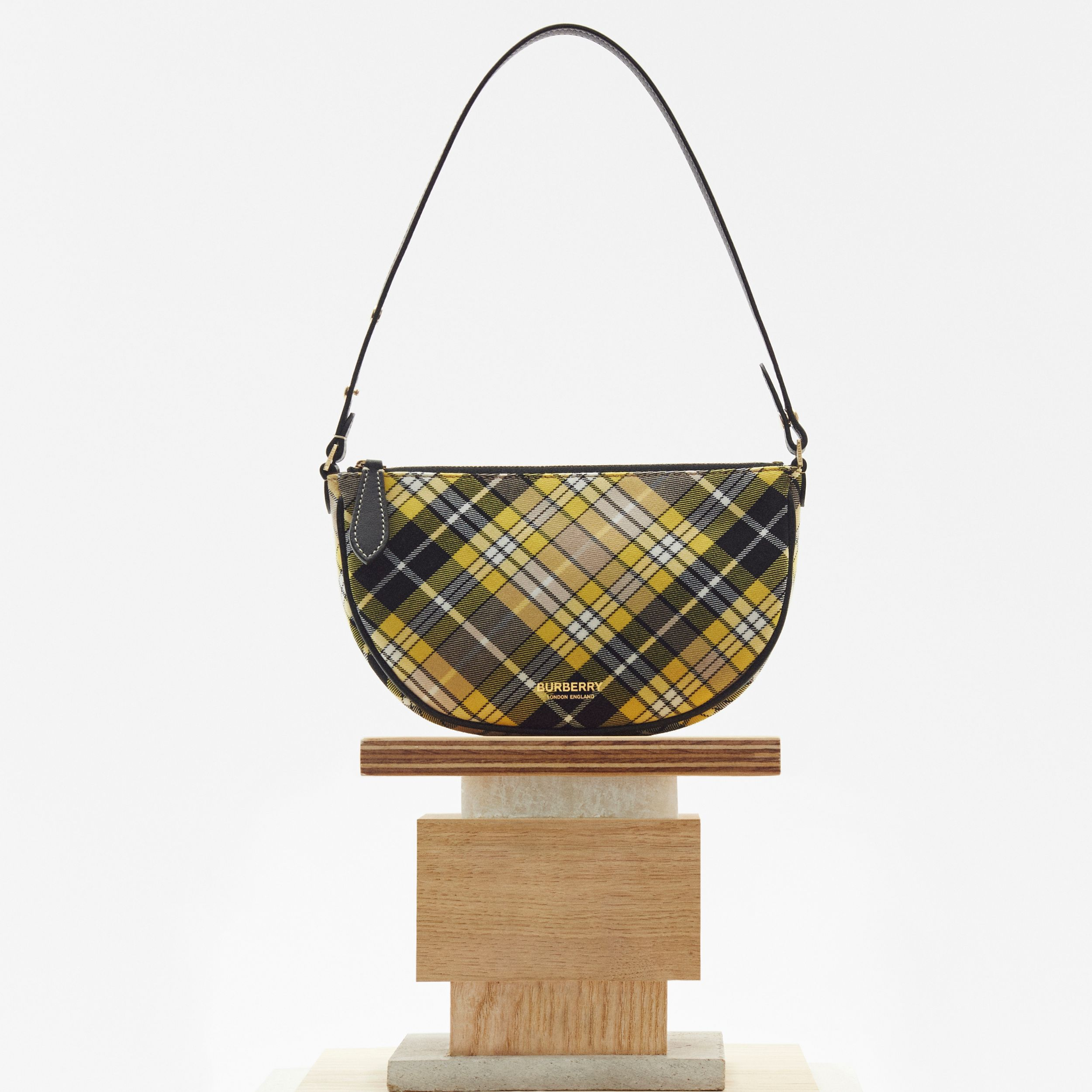 Tartan Cotton Olympia Pouch in Marigold Yellow - Women | Burberry - 2