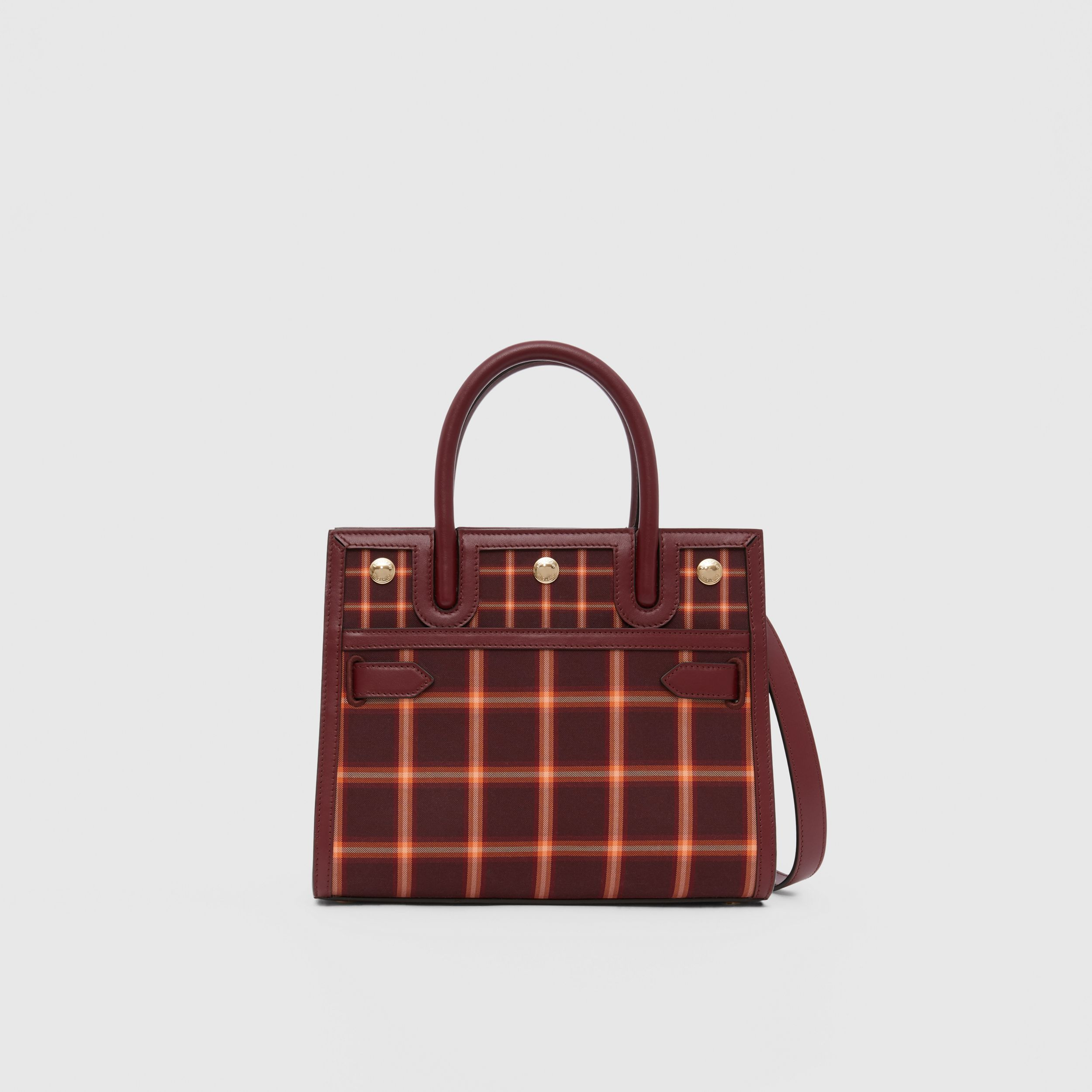 Mini Tartan Technical Cotton Two-handle Title Bag in Burgundy - Women | Burberry - 1