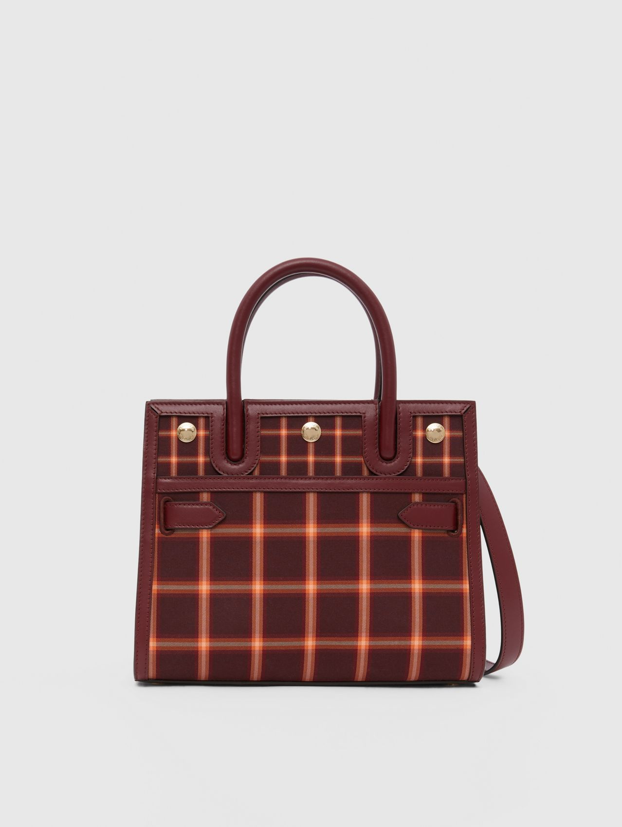 Mini Tartan Technical Cotton Two-handle Title Bag in Burgundy