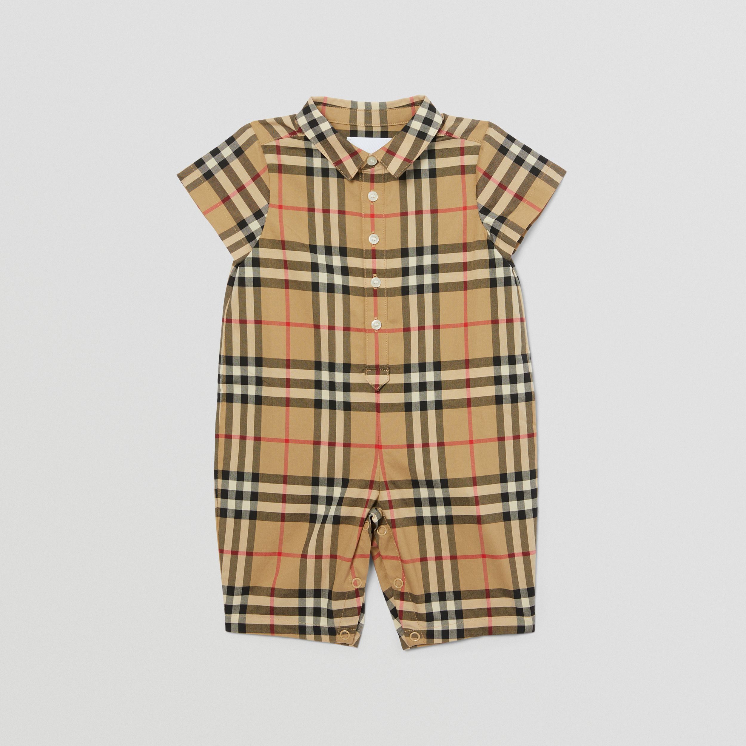 Vintage Check Cotton Playsuit in Archive Beige - Children | Burberry United Kingdom - 1