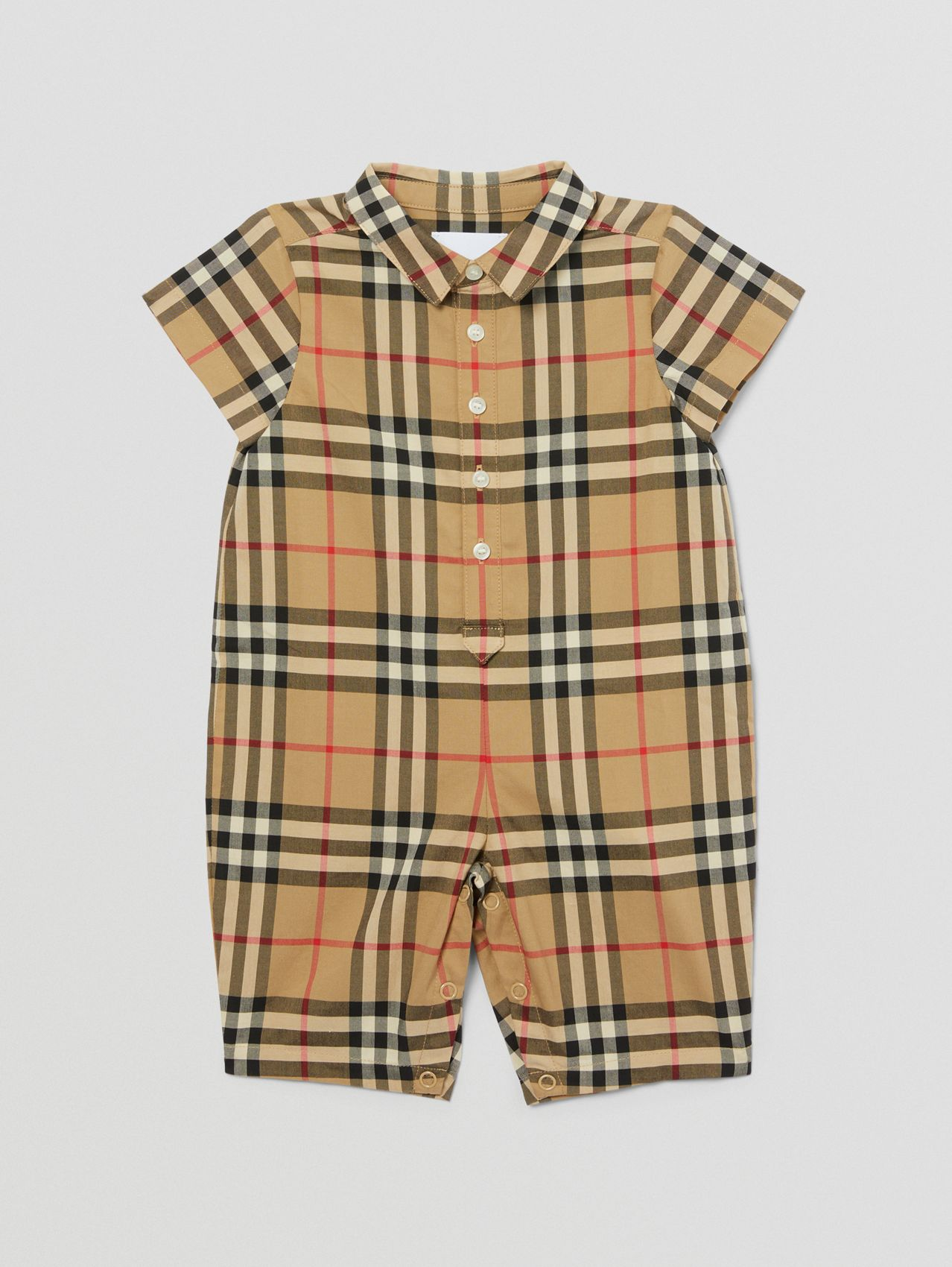 Vintage Check Cotton Playsuit in Archive Beige