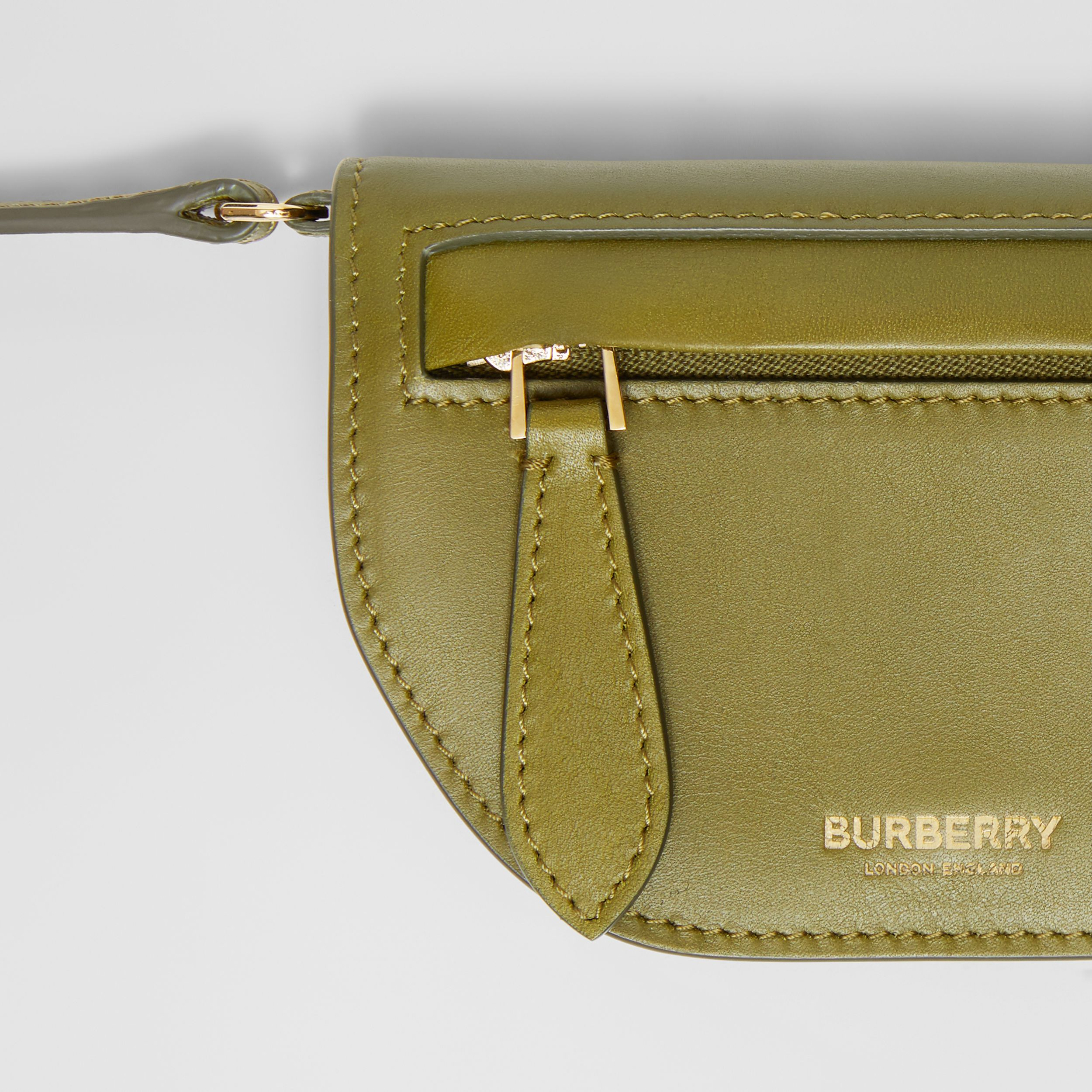 Leather Olympia Card Case with Detachable Strap in Juniper Green | Burberry - 2