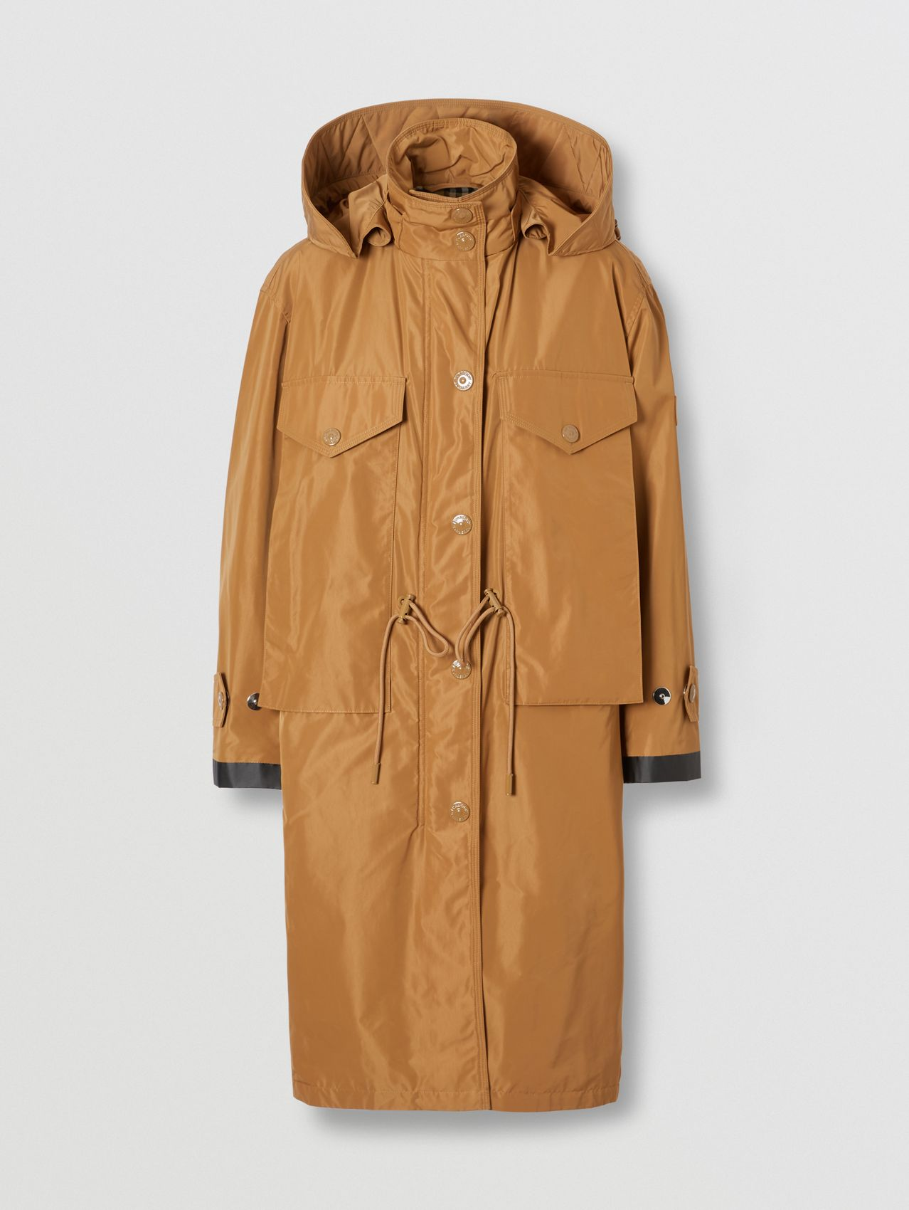 Detachable Hood Shape-memory Taffeta Parka in Camel