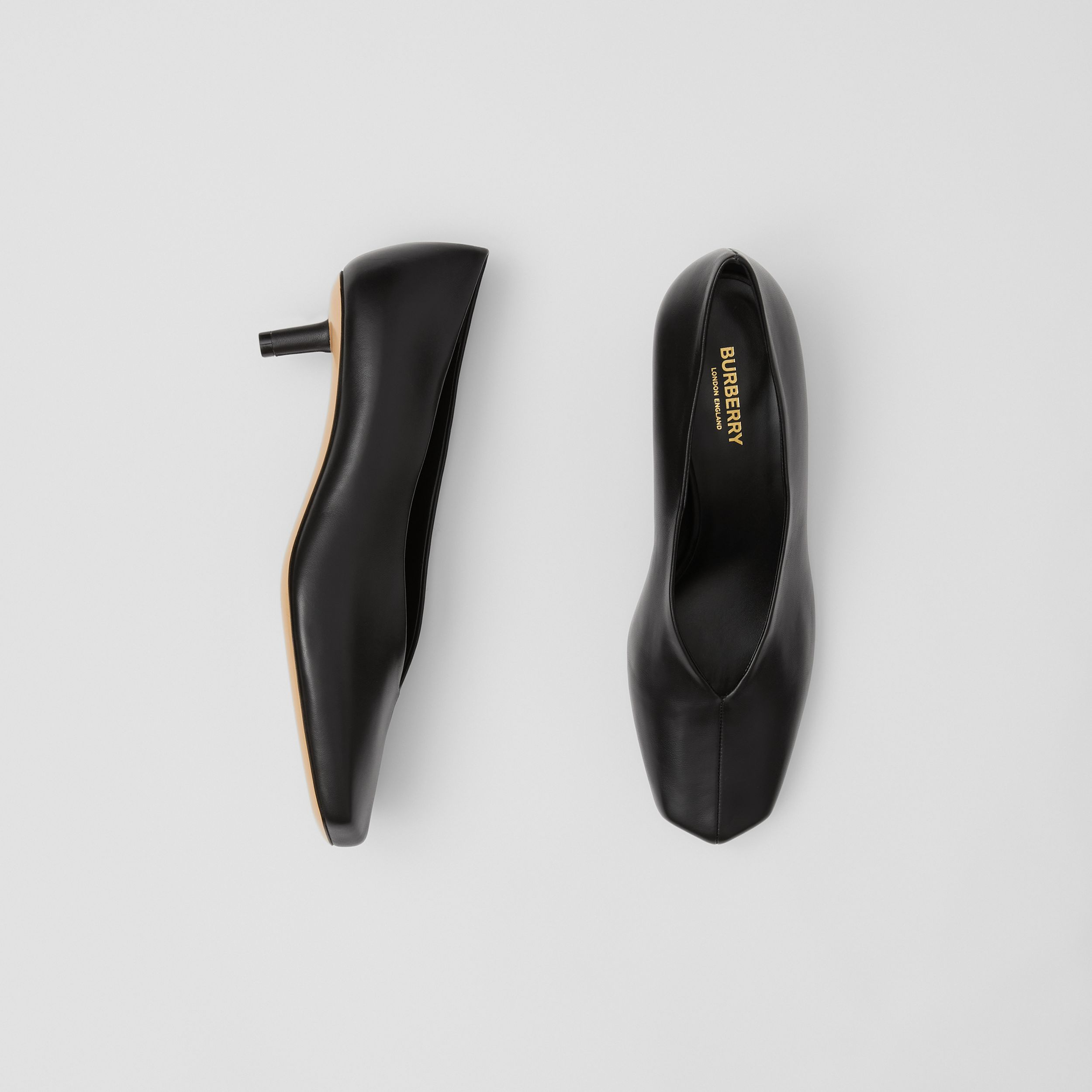 Lambskin Sculptural Kitten-heel Pumps in Black - Women | Burberry - 1