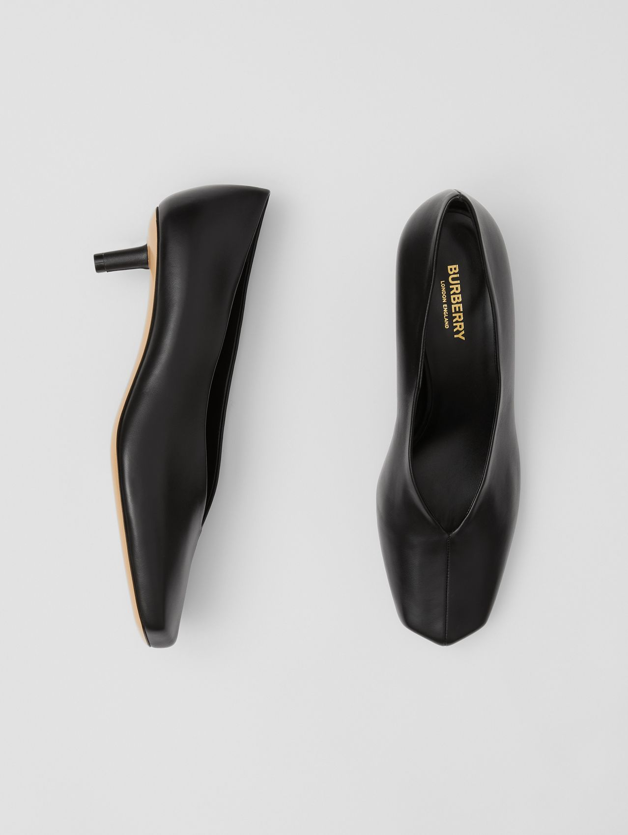 Lambskin Sculptural Kitten-heel Pumps in Black