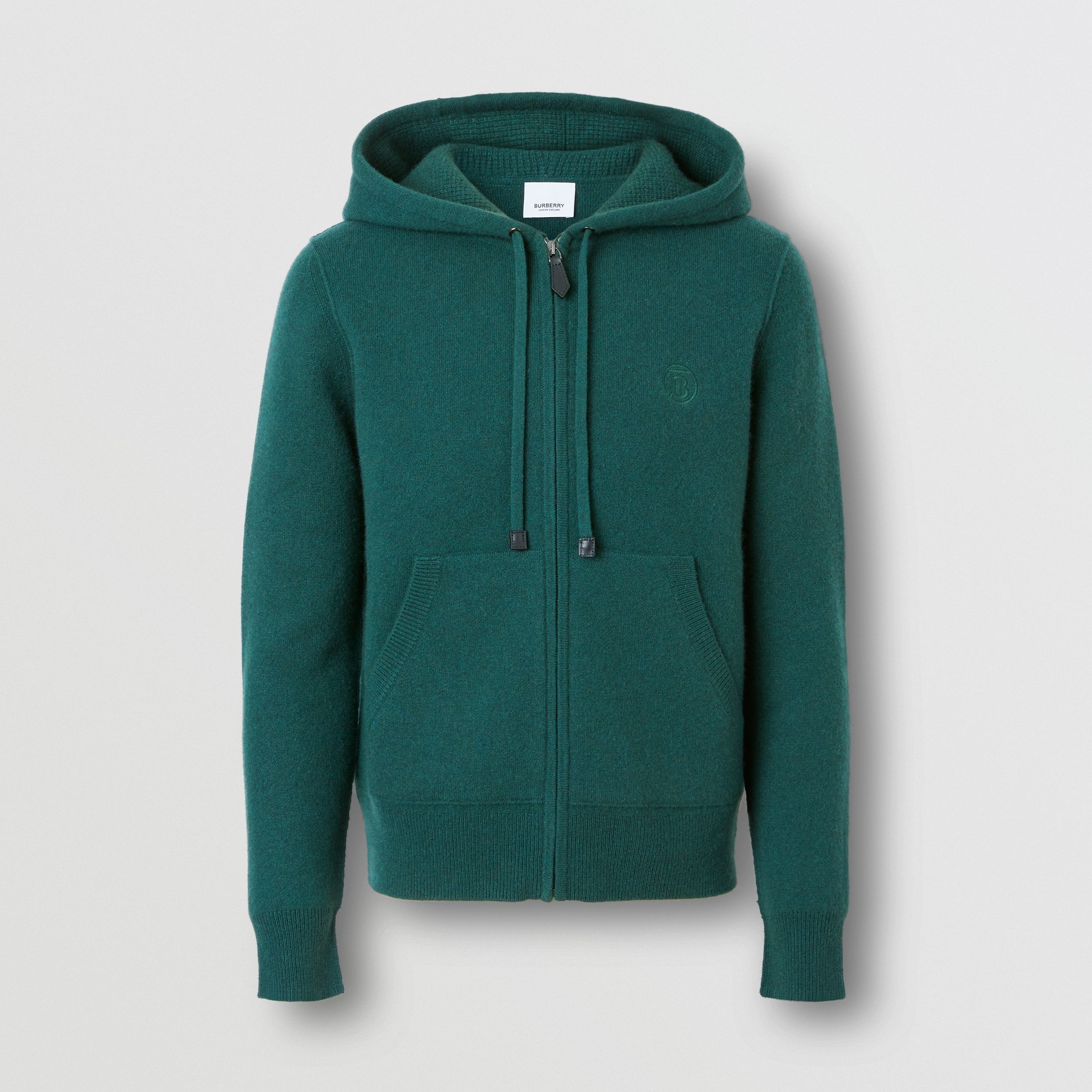 Monogram Motif Cashmere Blend Hooded Top in Bottle Green - Women | Burberry - 4