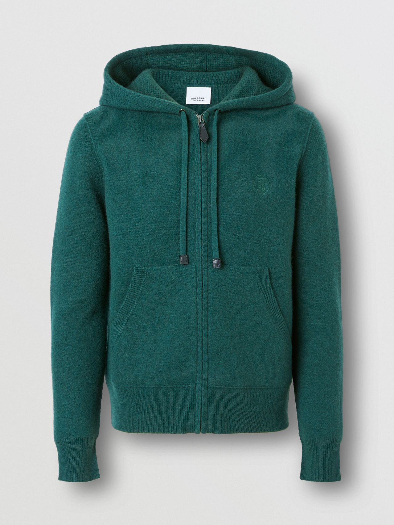 Monogram Motif Cashmere Blend Hooded Top in Bottle Green