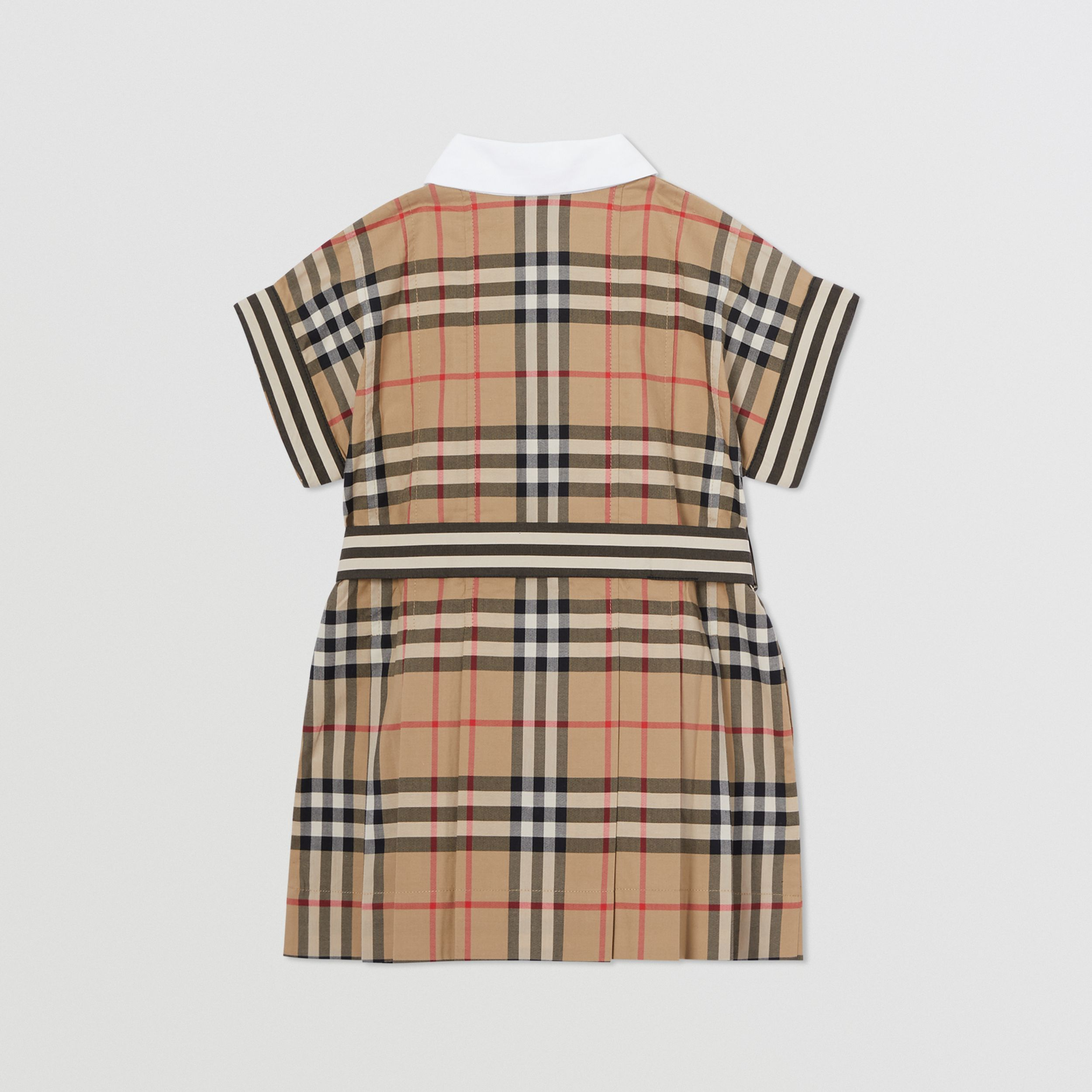 Contrast Collar Vintage Check Cotton Dress in Archive Beige - Children | Burberry - 4