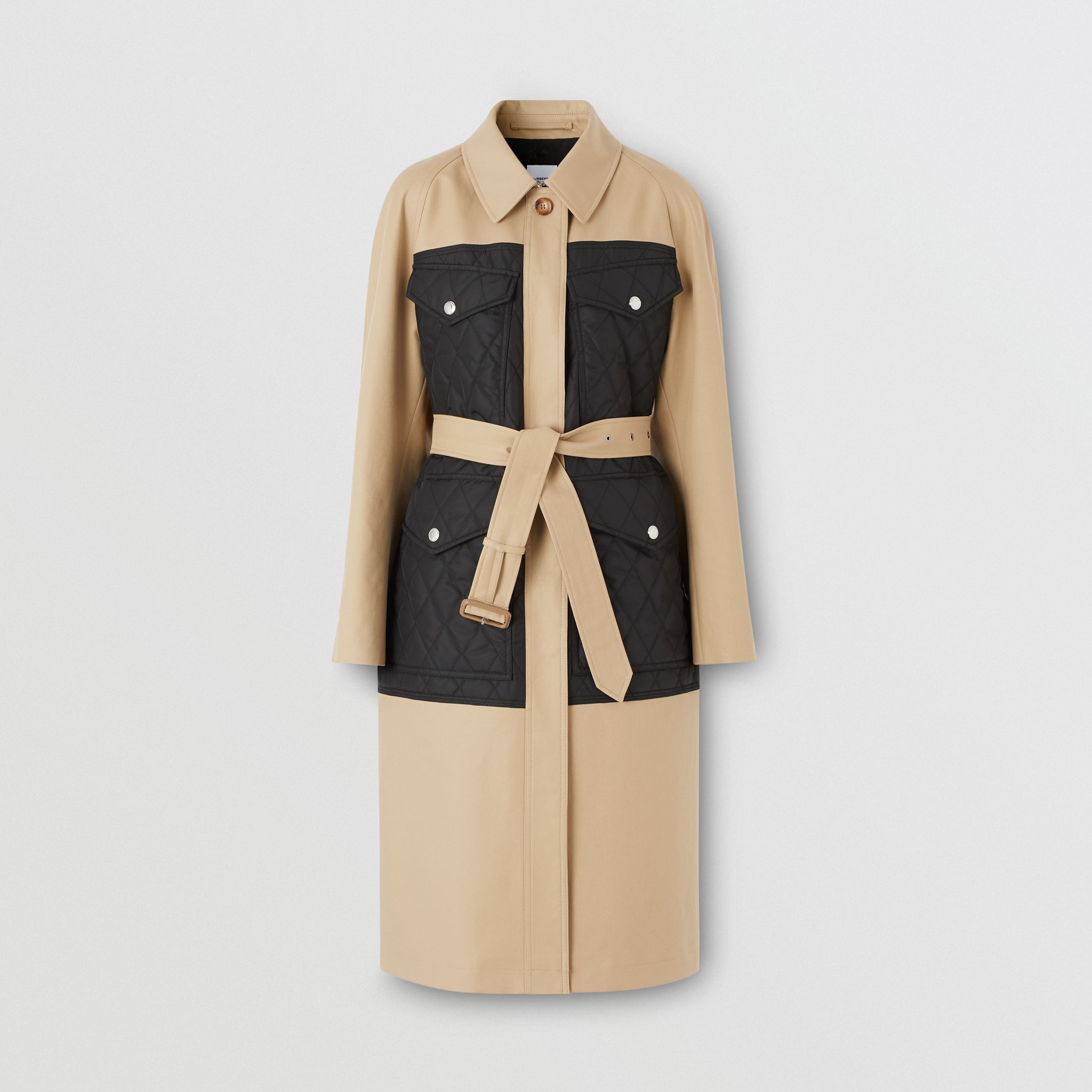 Diamond Quilted Panel Cotton Gabardine Car Coat in Honey - Women | Burberry - 4