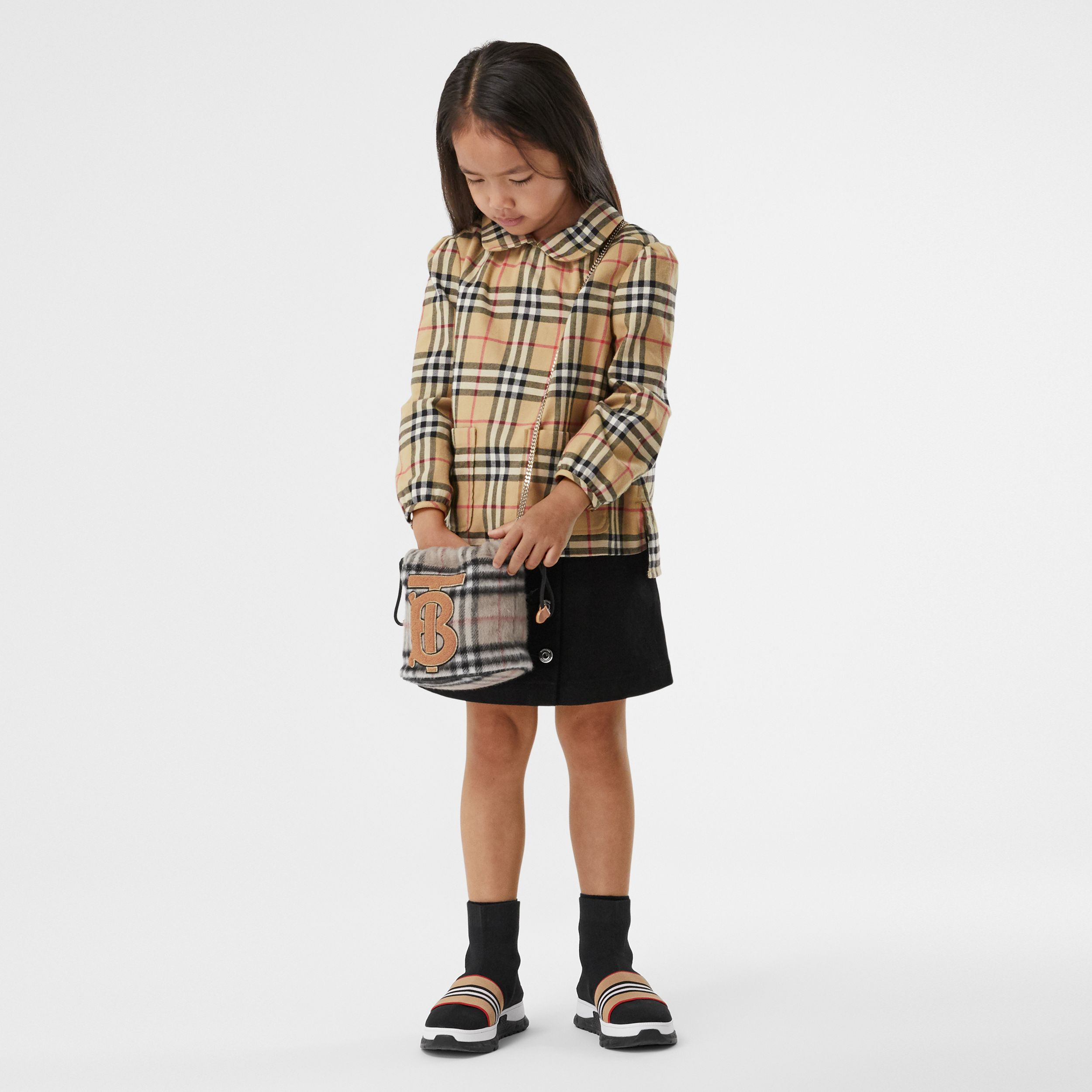 Camicetta in cotone con motivo Vintage check e colletto Peter Pan | Burberry - 3