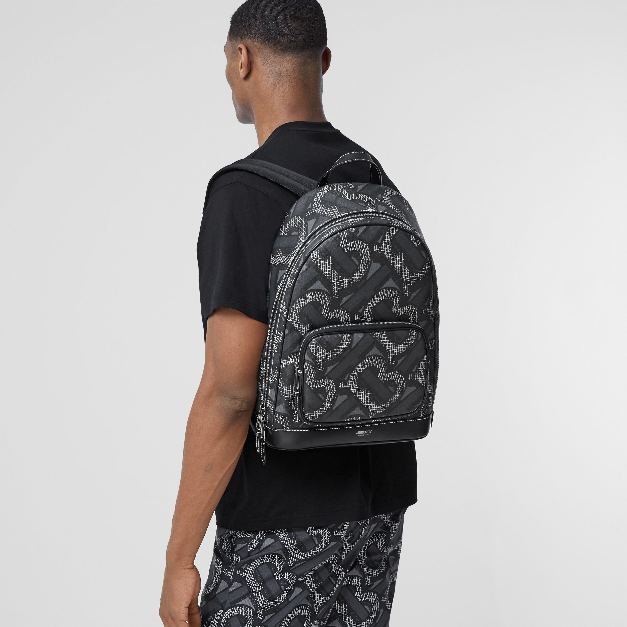 Monogram Print E-canvas Backpack in Graphite | Burberry - 4