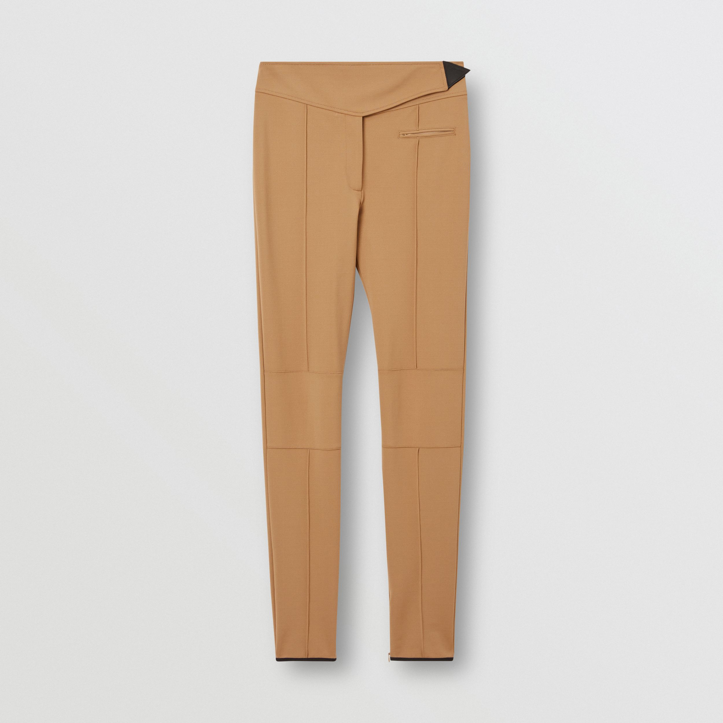 Stretch Crepe Jersey Jodhpurs in Dark Tan - Women | Burberry - 4