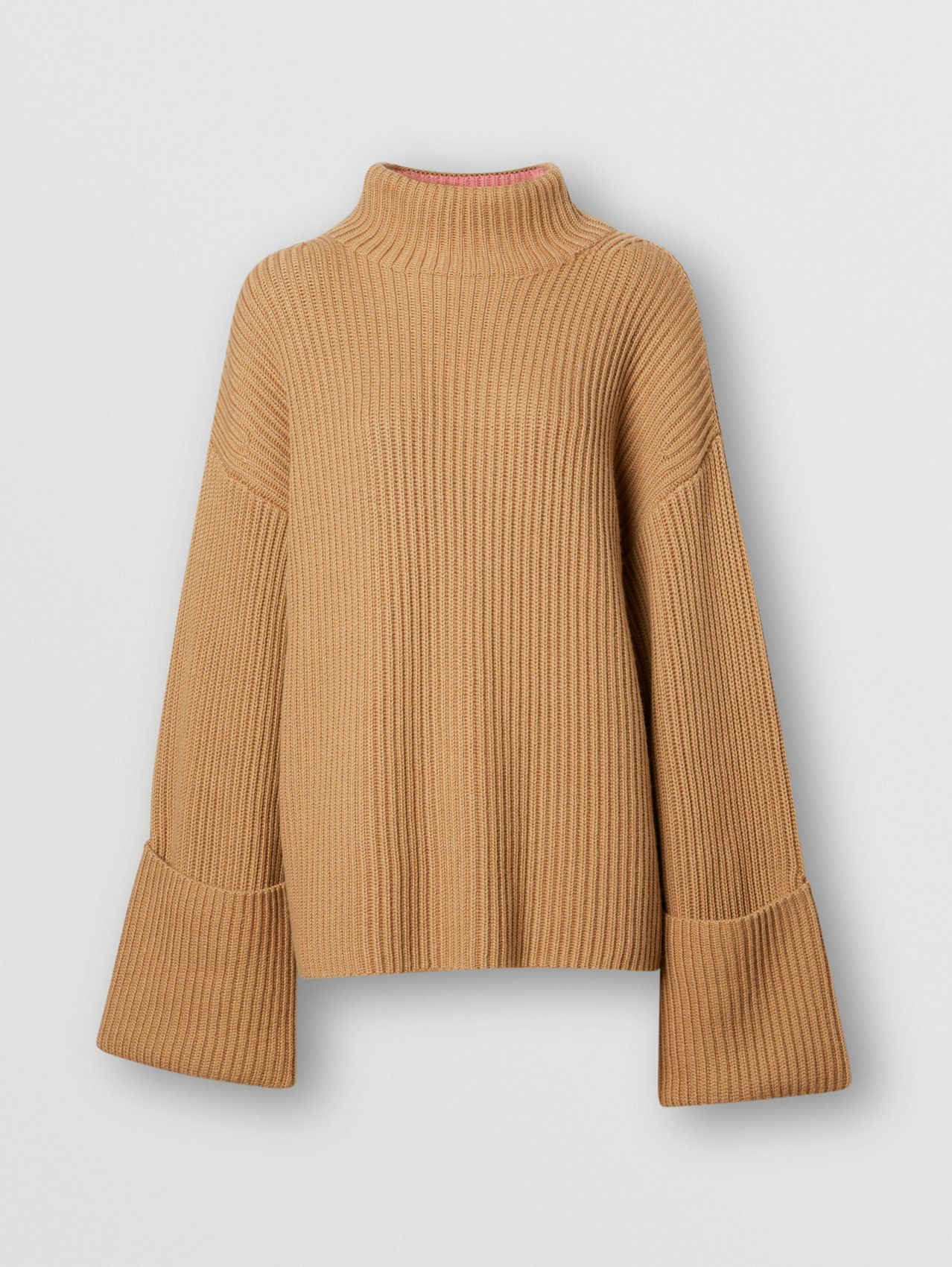 Rib Knit Cotton Cashmere Oversized Sweater in Camel