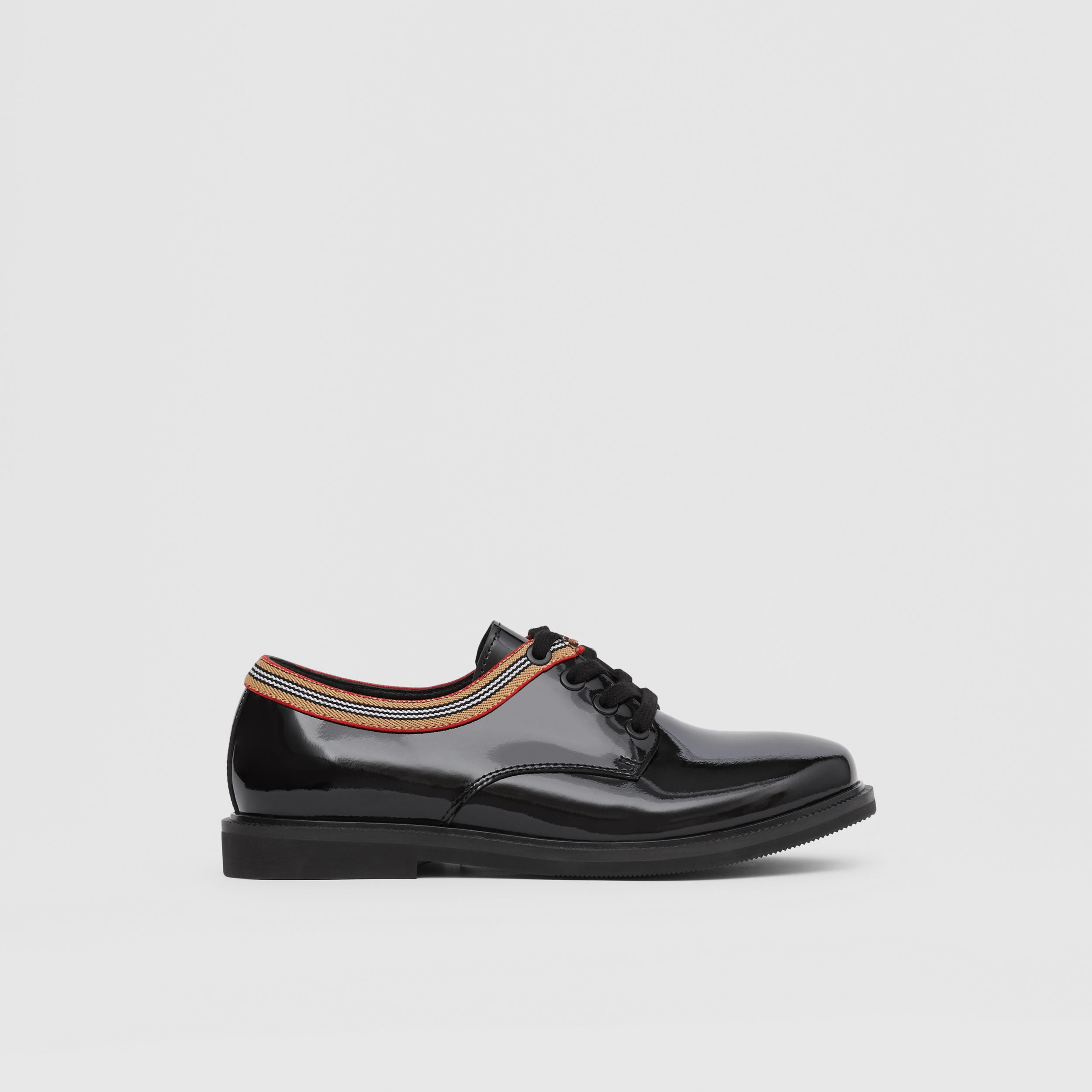 Icon Stripe Trim Patent Leather Shoes in Black - Children | Burberry - 4