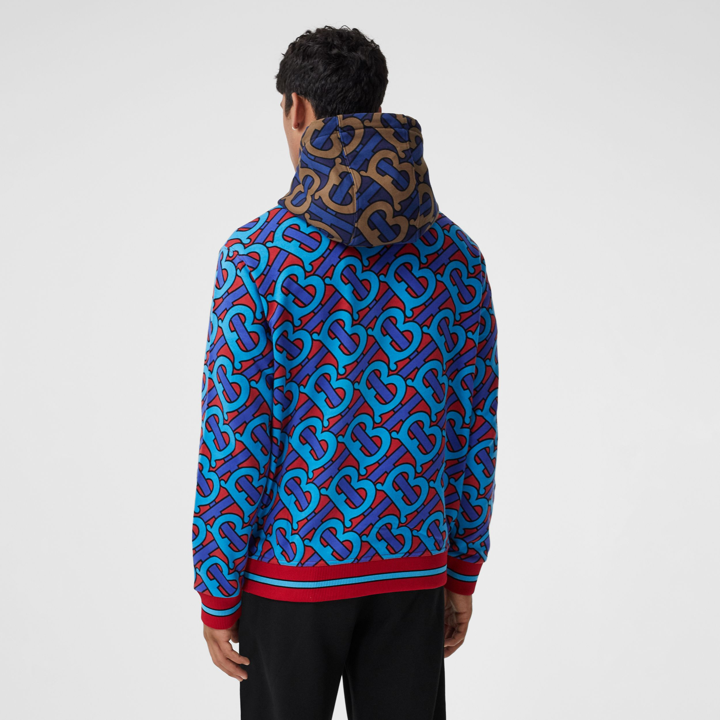 Monogram Print Cotton Hoodie in Bright Cherry Red - Men | Burberry - 3