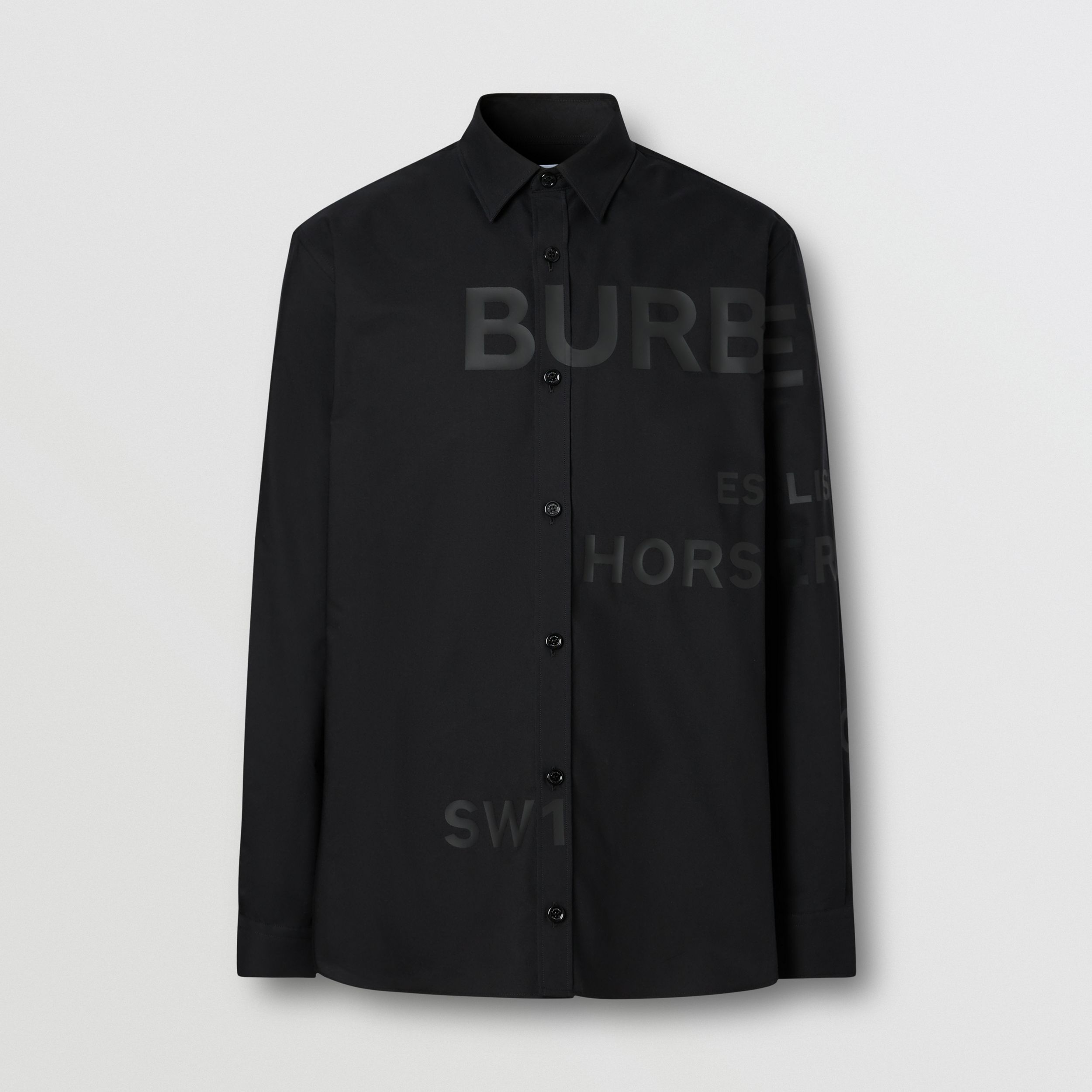 Horseferry Print Cotton Oxford Oversized Shirt in Black - Men | Burberry - 4