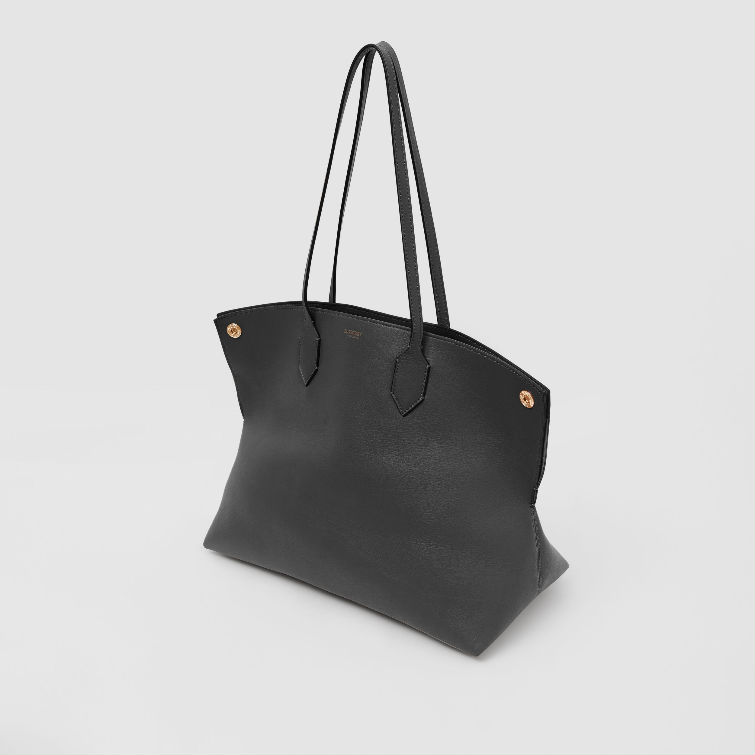 Medium Leather Society Tote in Black - Women | Burberry Canada - 4