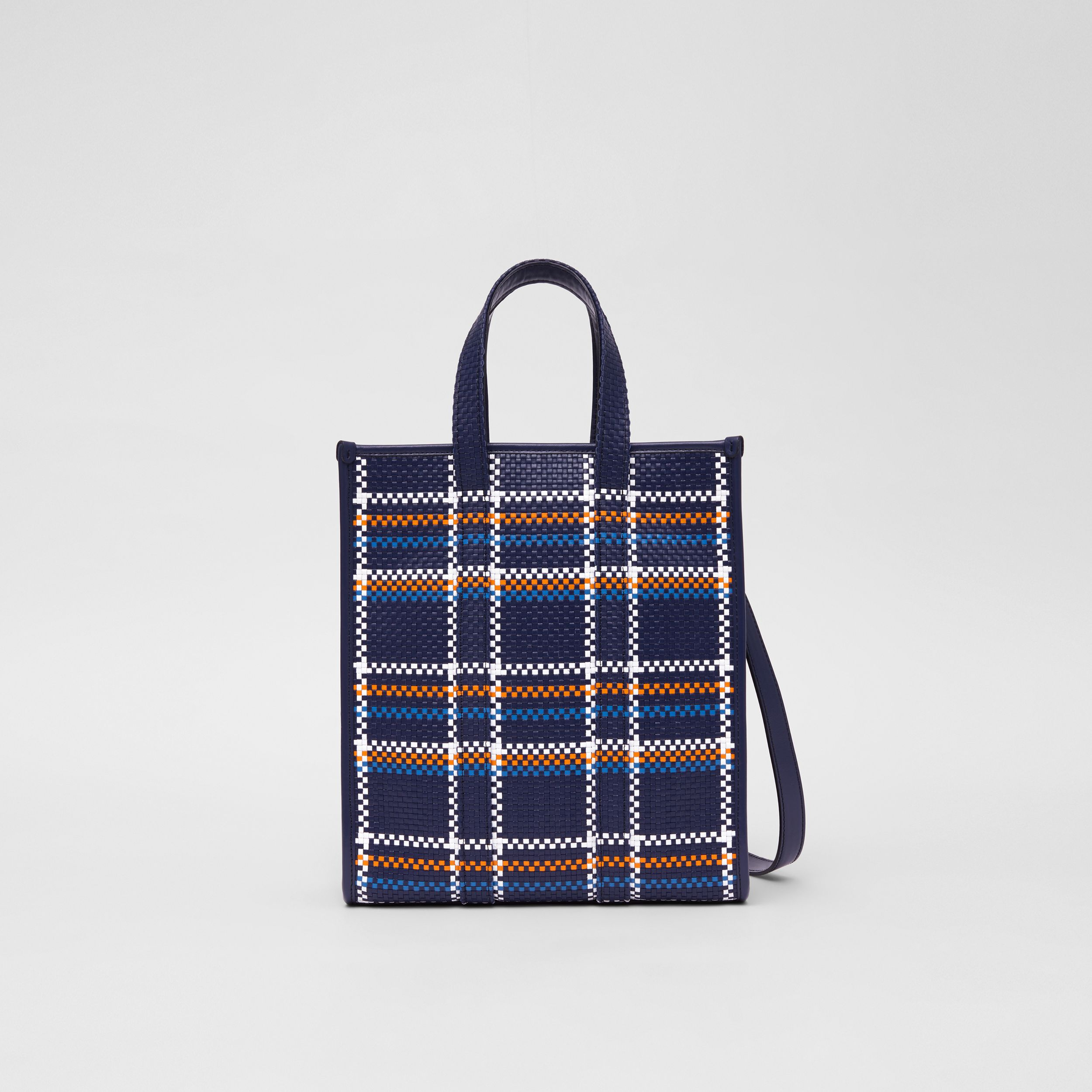 Small Latticed Leather Portrait Tote Bag in Blue/white/orange - Women | Burberry - 1