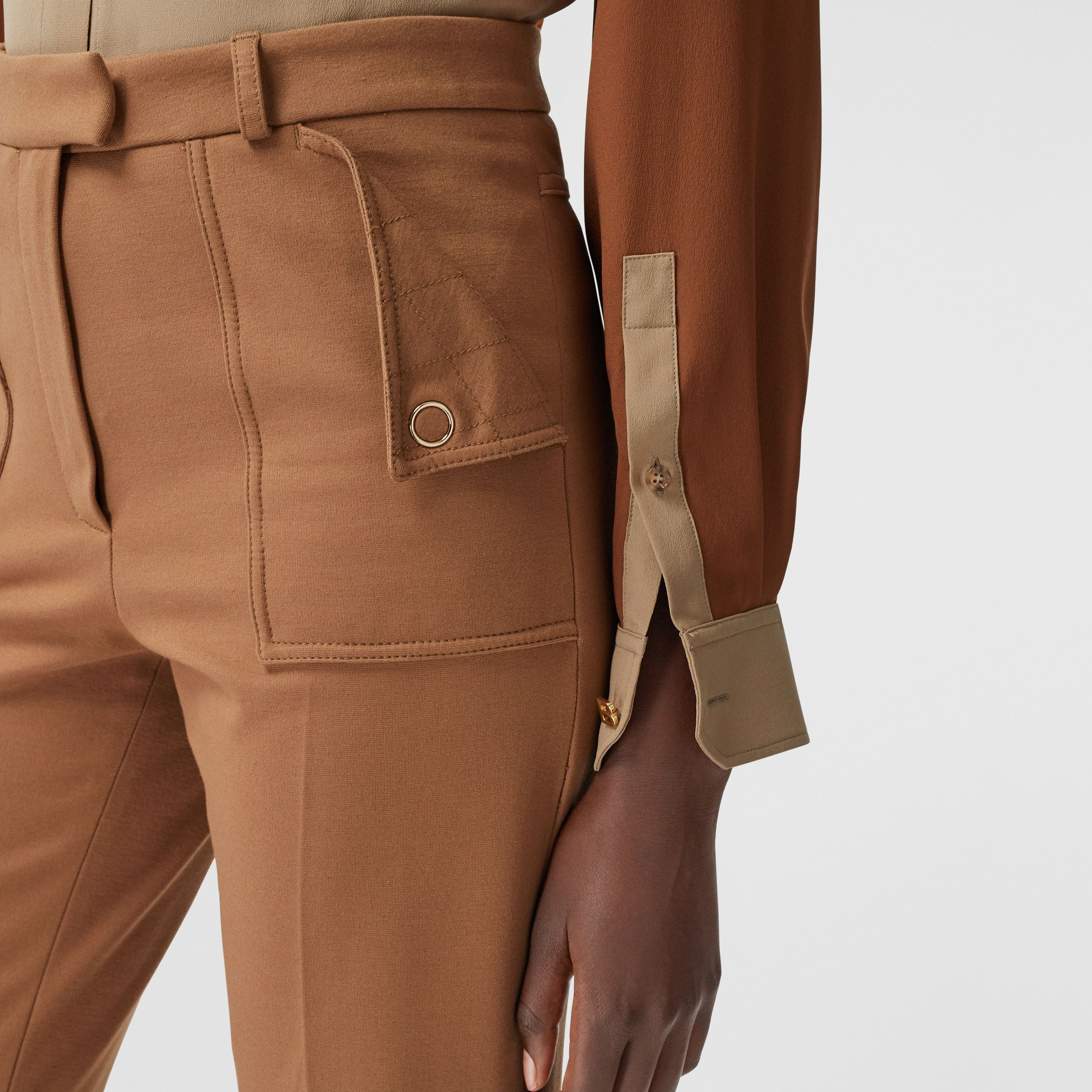 Pocket Detail Jersey Tailored Trousers in Biscuit - Women | Burberry - 2