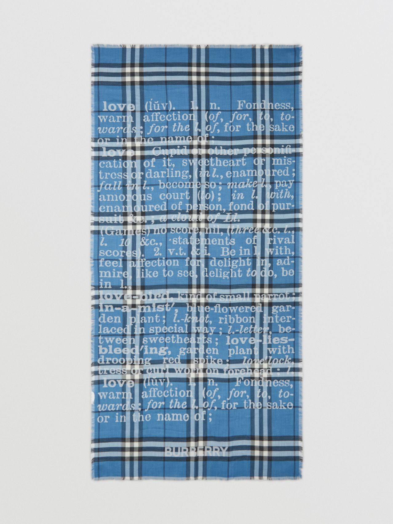 Love and Check Cashmere Jacquard Scarf in Pale Blue