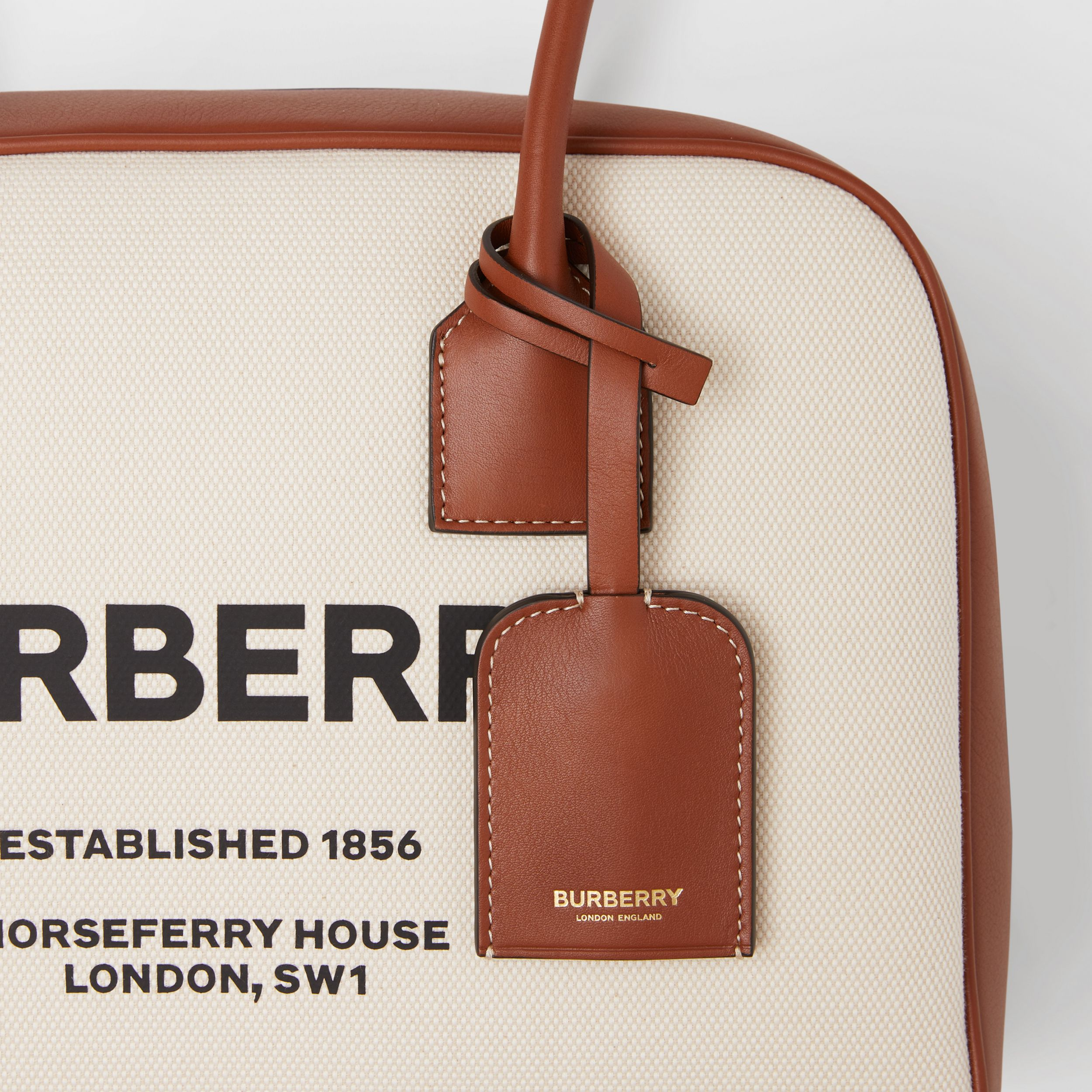 Medium Horseferry Print Cotton Canvas Half Cube Bag in Natural/tan/black - Women | Burberry - 2