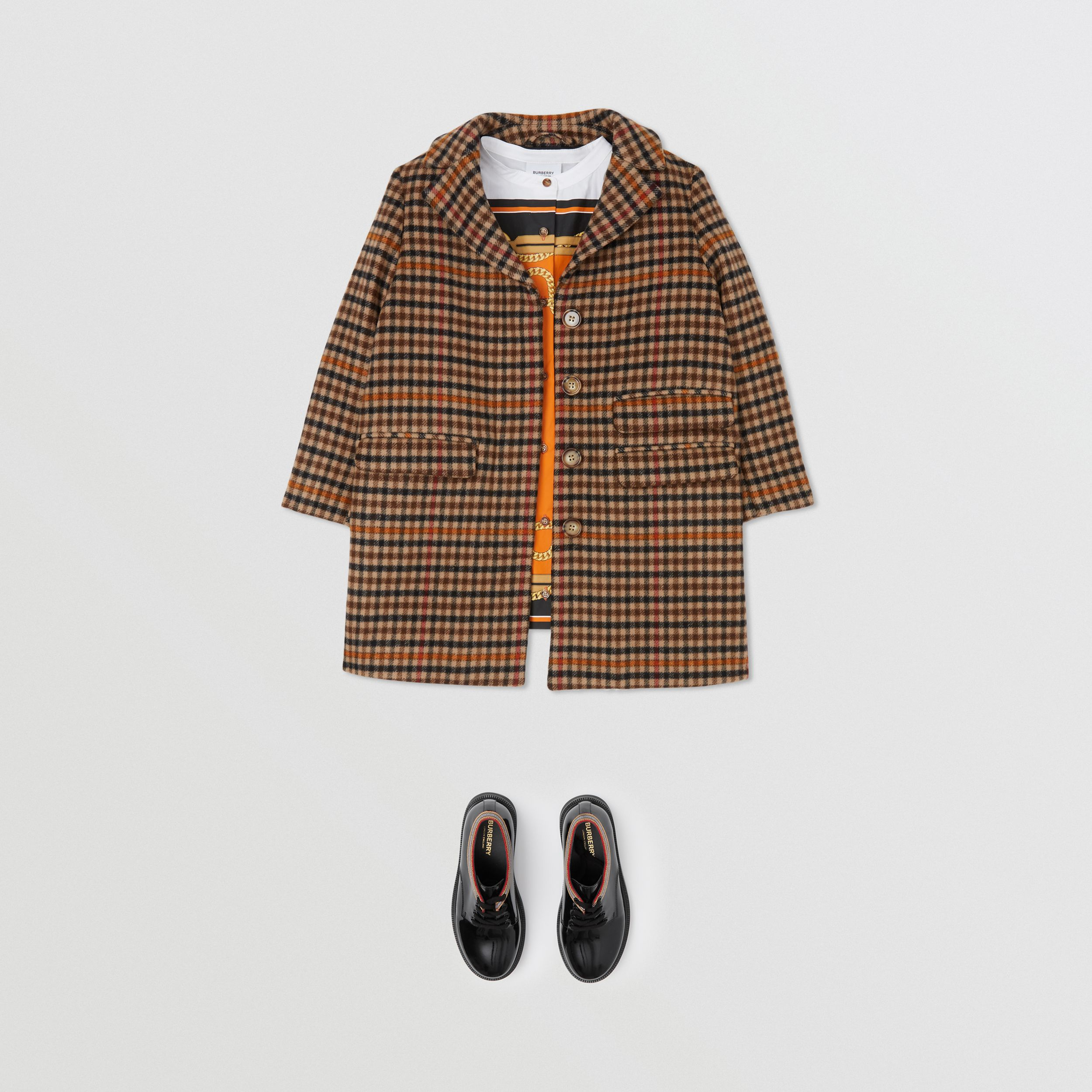Embroidered Monogram Motif Check Wool Tailored Coat in Camel | Burberry - 2
