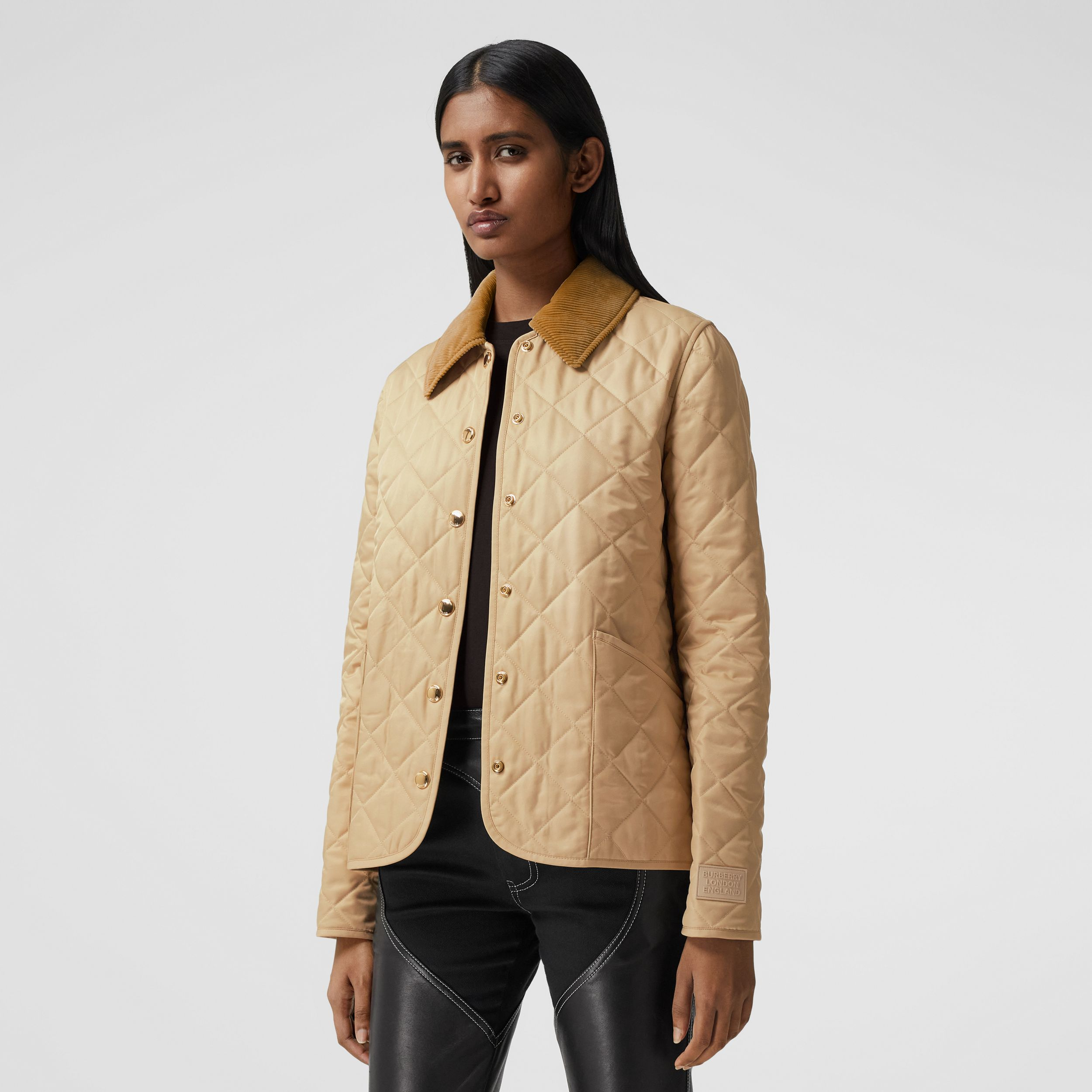 Corduroy Collar Diamond Quilted Jacket in Soft Fawn - Women | Burberry - 1