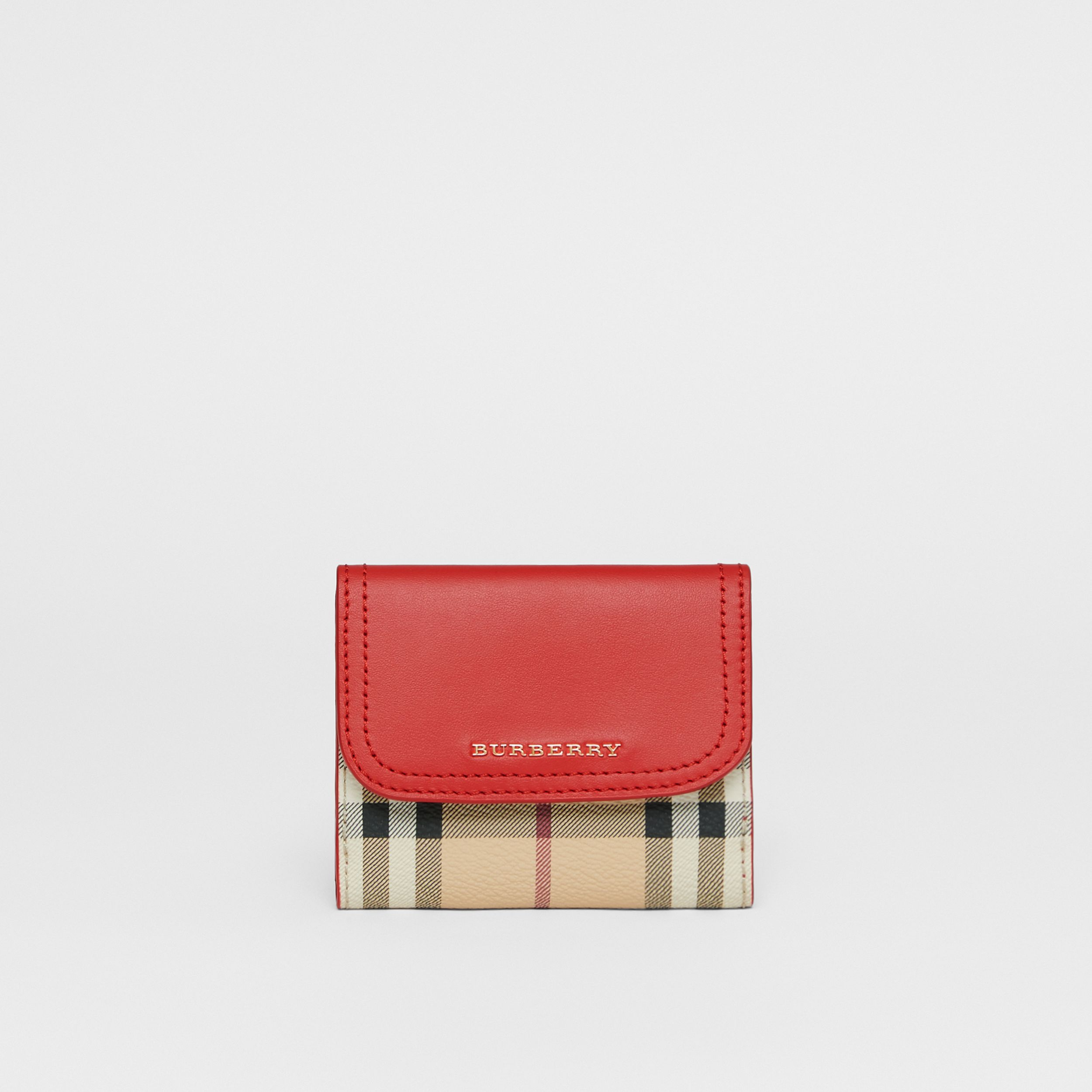 Haymarket Check E-canvas and Leather Wallet in Bright Red - Women | Burberry - 3