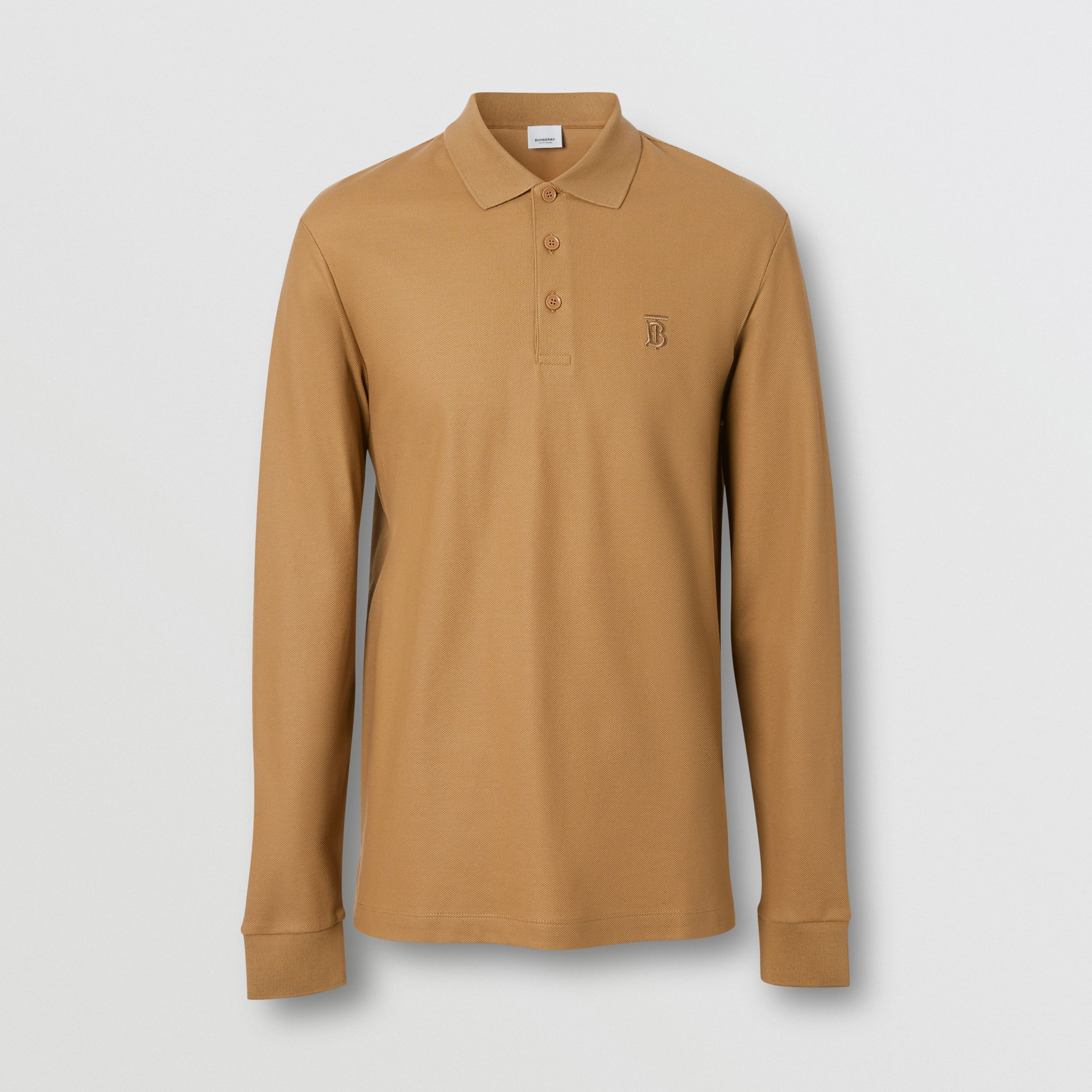 Long-sleeve Monogram Motif Cotton Piqué Polo Shirt in Camel - Men | Burberry - 4