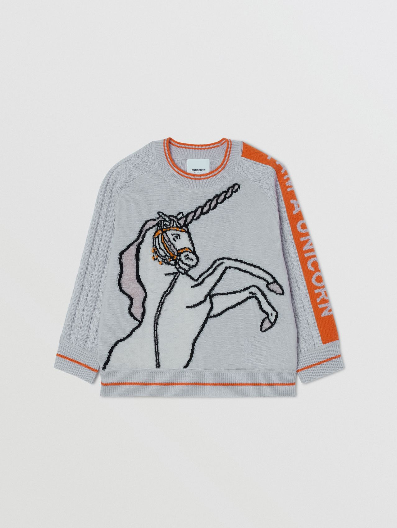 Unicorn Intarsia Wool Sweater in Light Grey