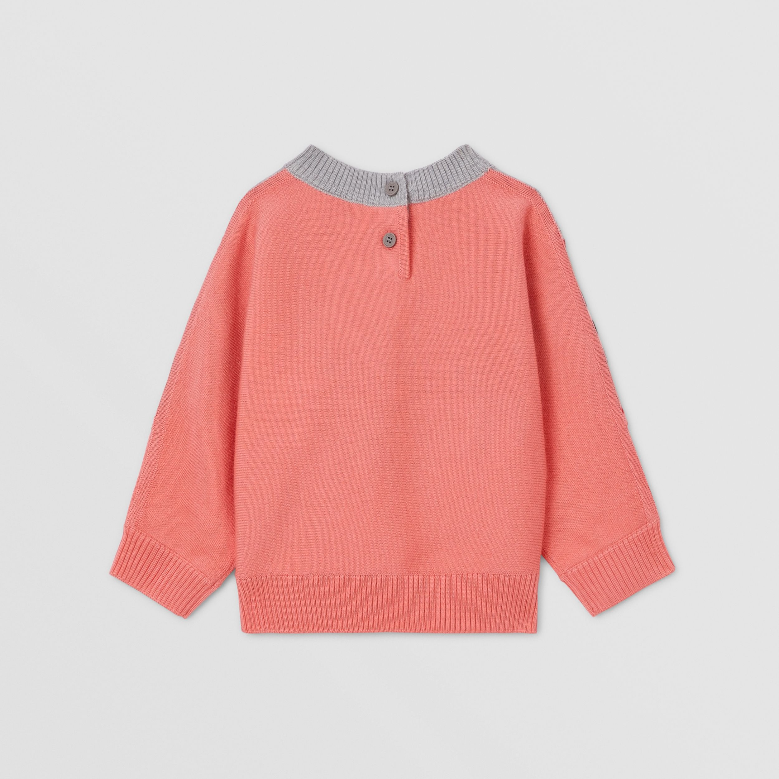 Unicorn Embroidered Technical Wool Sweater in Peach - Children | Burberry Hong Kong S.A.R. - 4