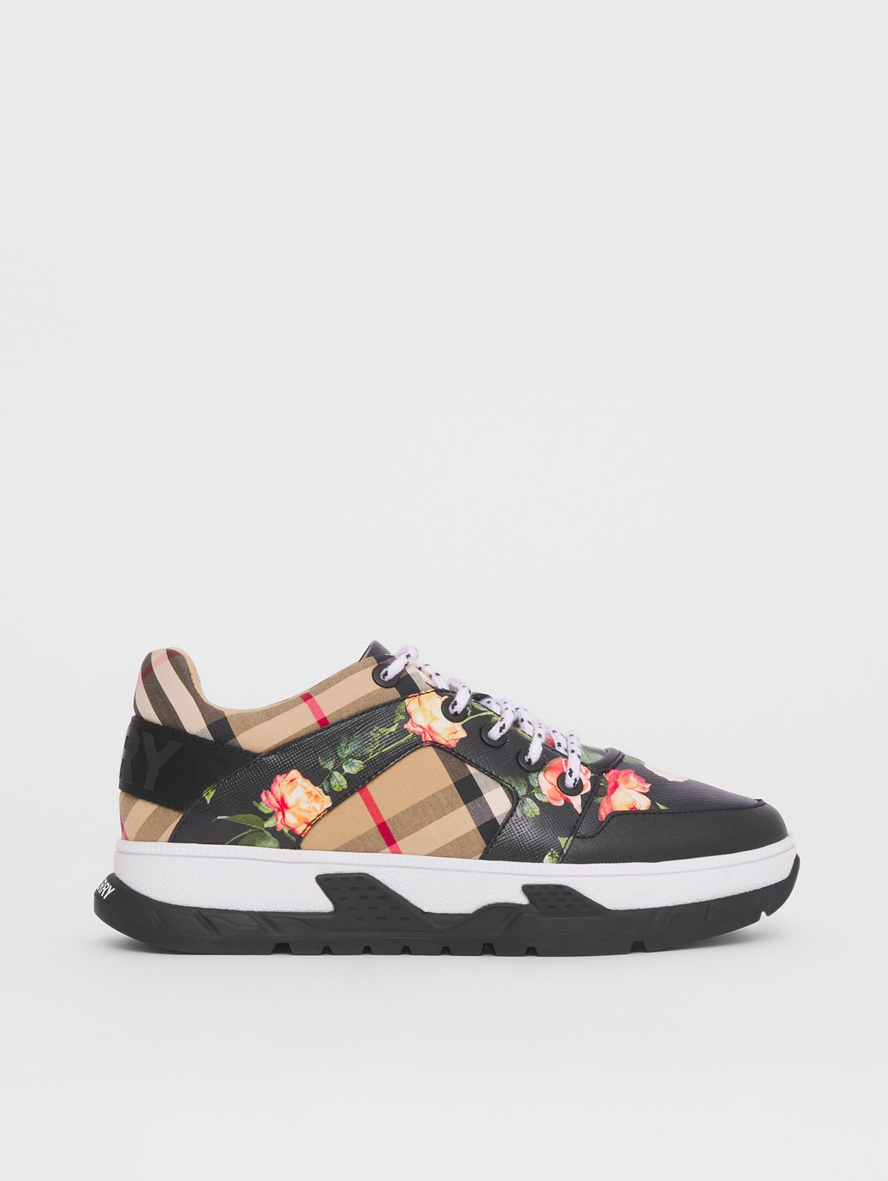 Vintage Check Cotton and Floral Print Sneakers in Black