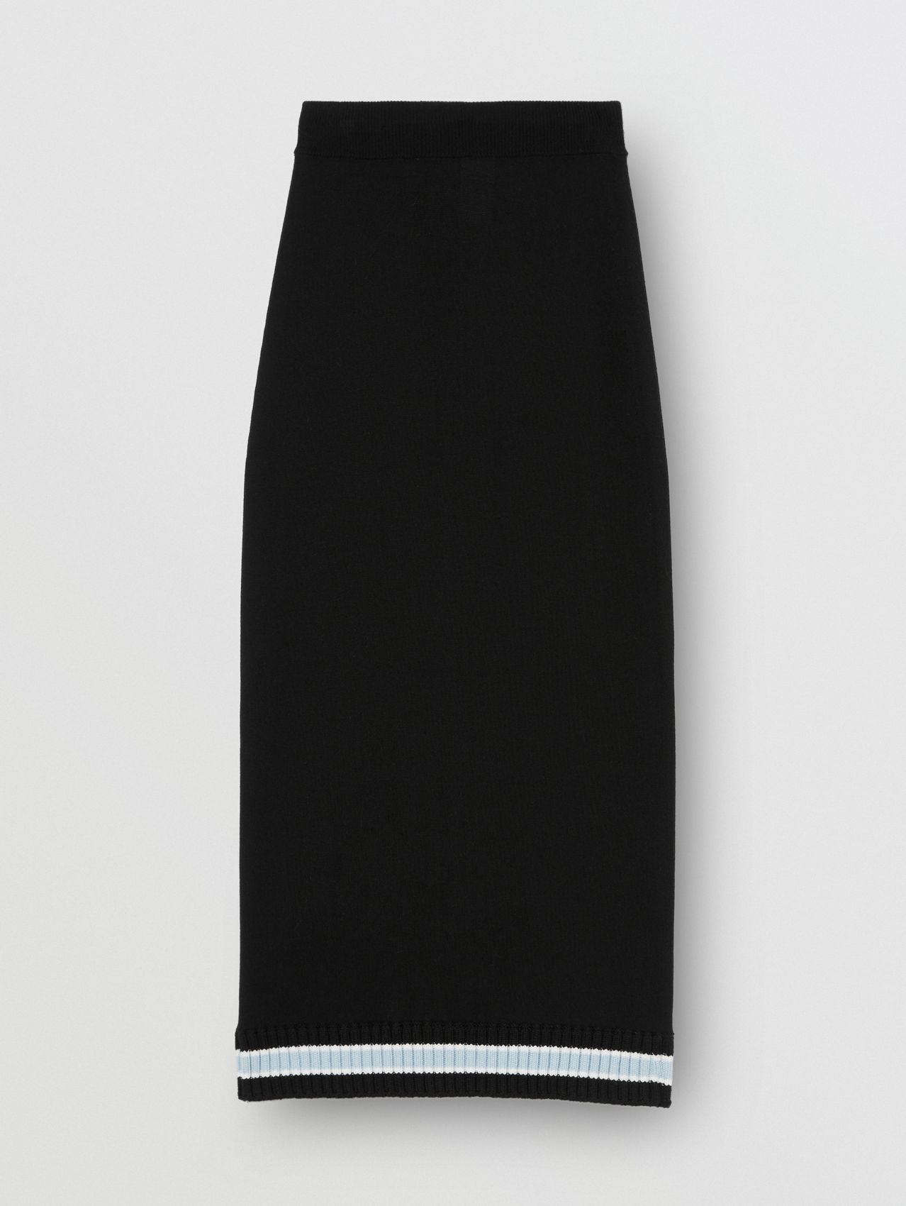 Rib Knit Stripe Detail Wool Skirt in Black