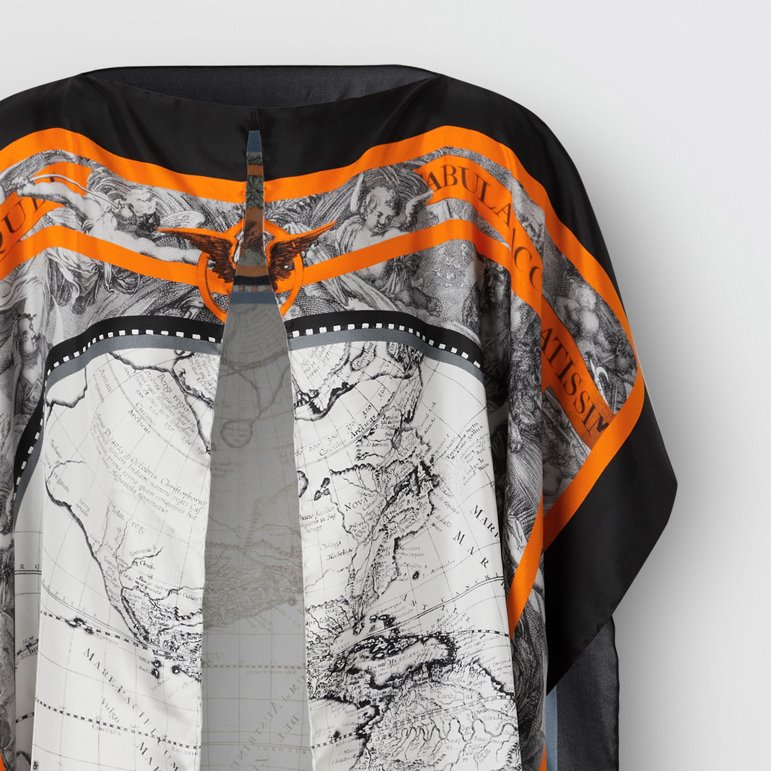 Map Print Silk Twill Cape - Women | Burberry - 3