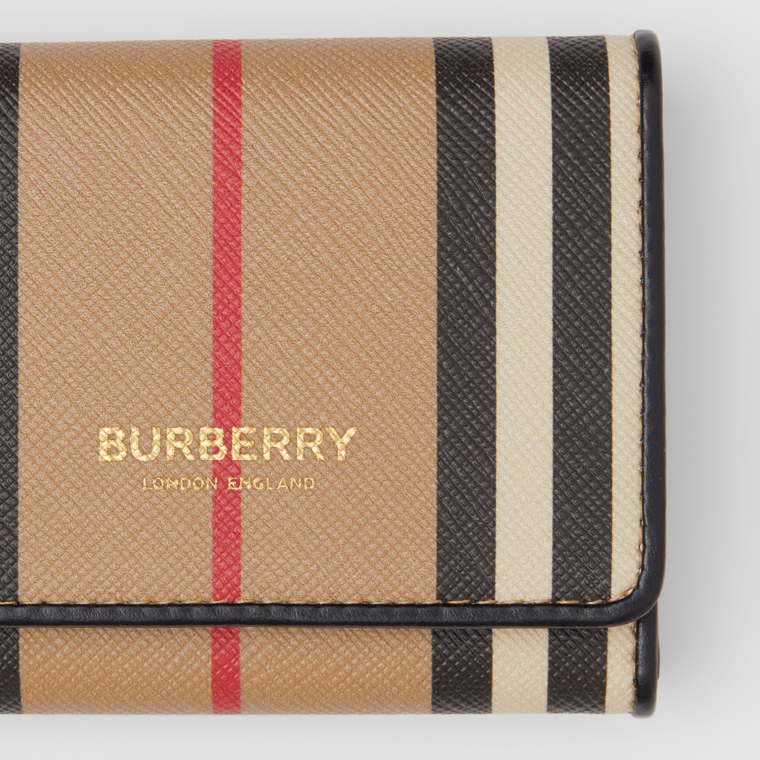 Porta carte di credito in e-canvas con iconico motivo a righe (Beige Archivio) - Donna | Burberry - 2