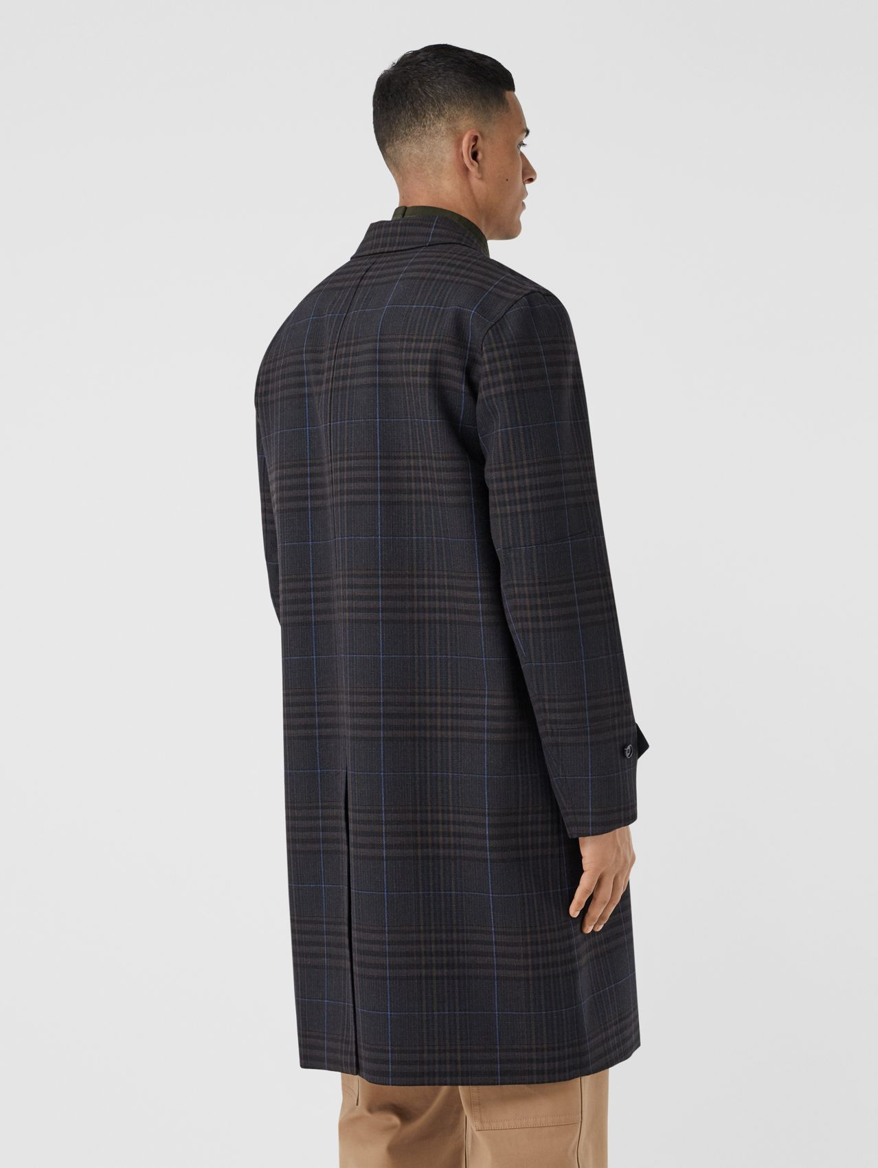 Check Wool Car Coat